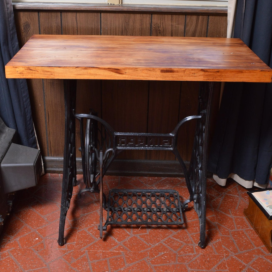 Antique iron singer sewing table base with wooden table top into antique iron singer sewing table base with wooden table top into converted table watchthetrailerfo