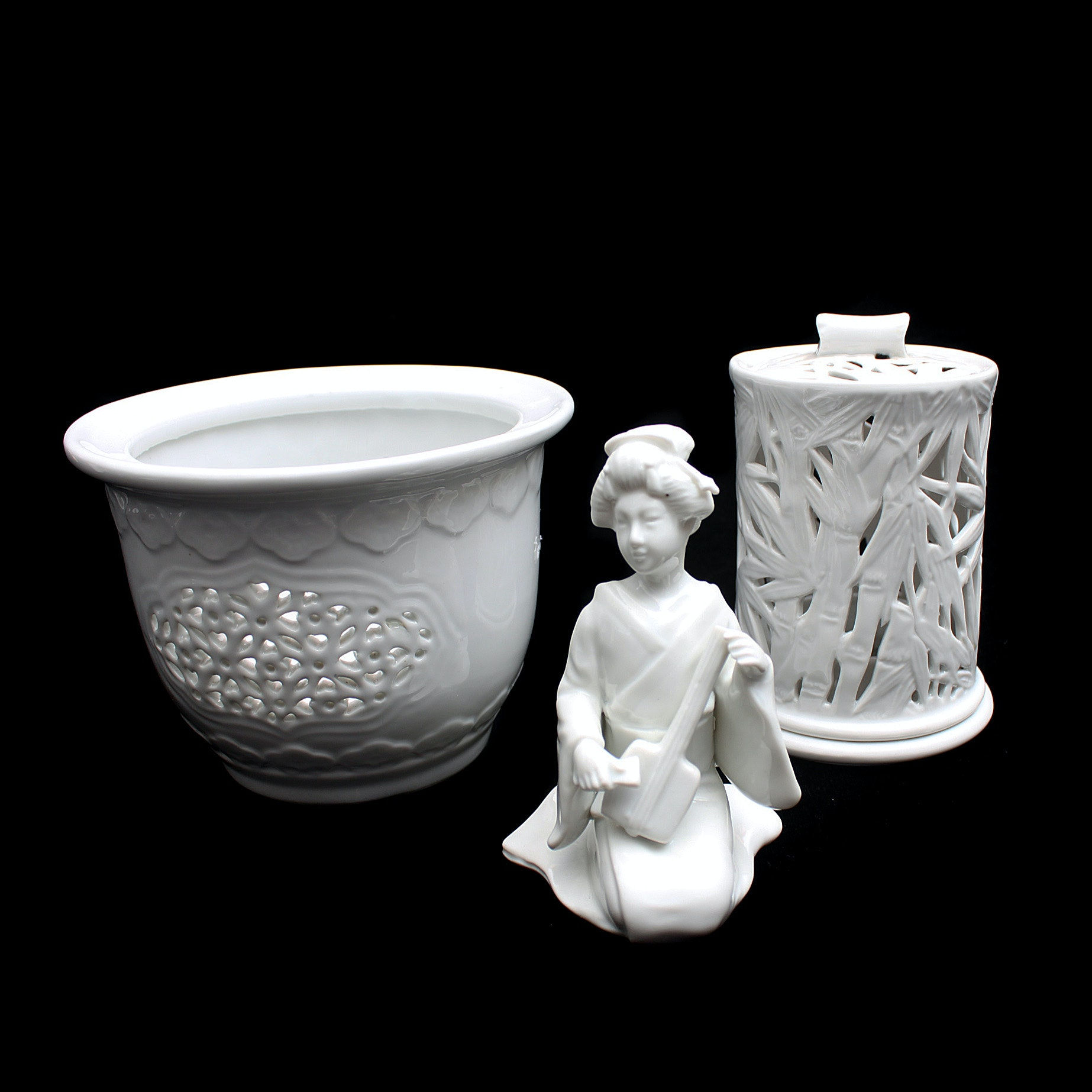 Asian Inspired White Ceramic Decor Items Including Fitz and Floyd