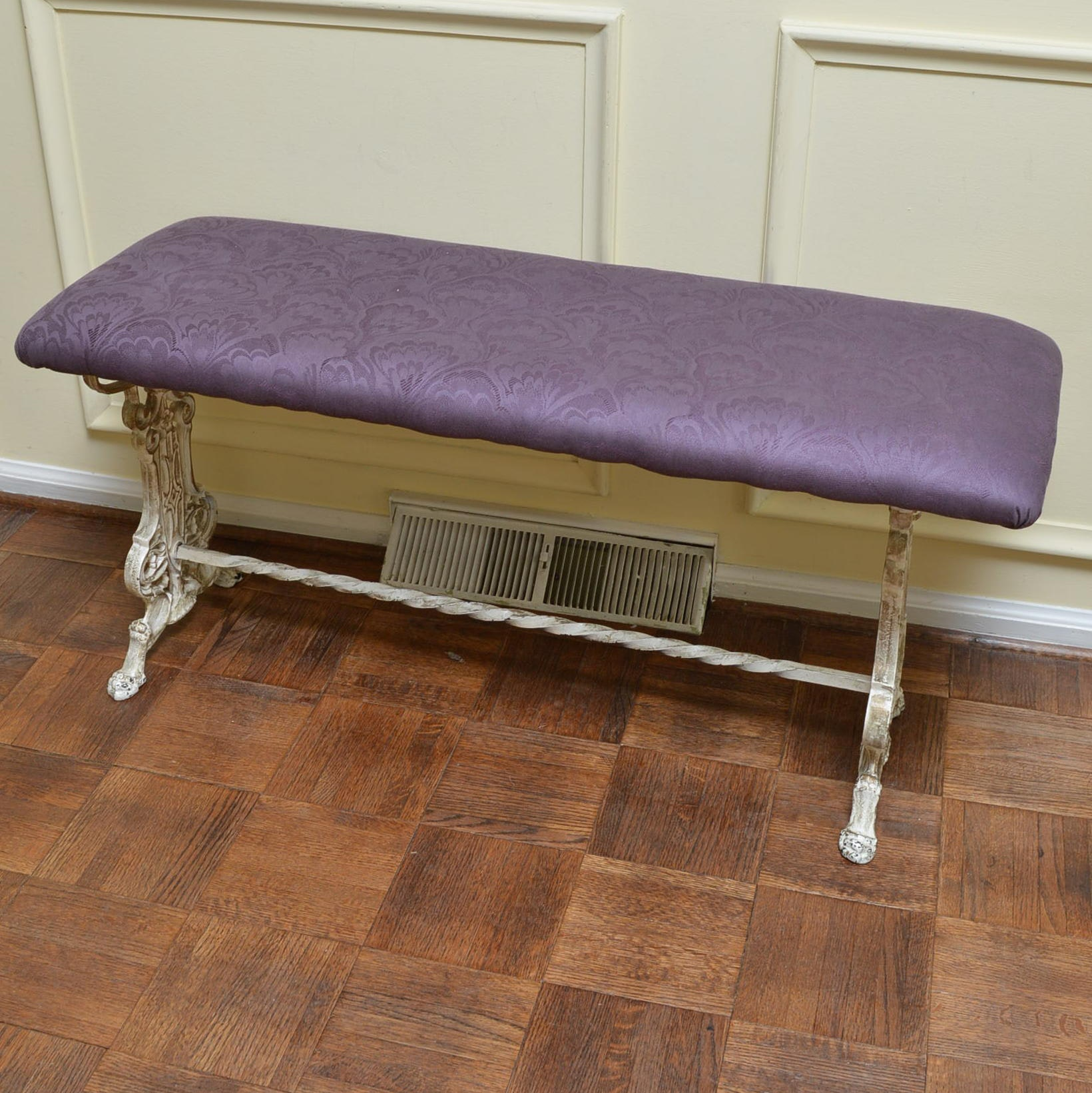 Vintage Upholstered Iron Bench