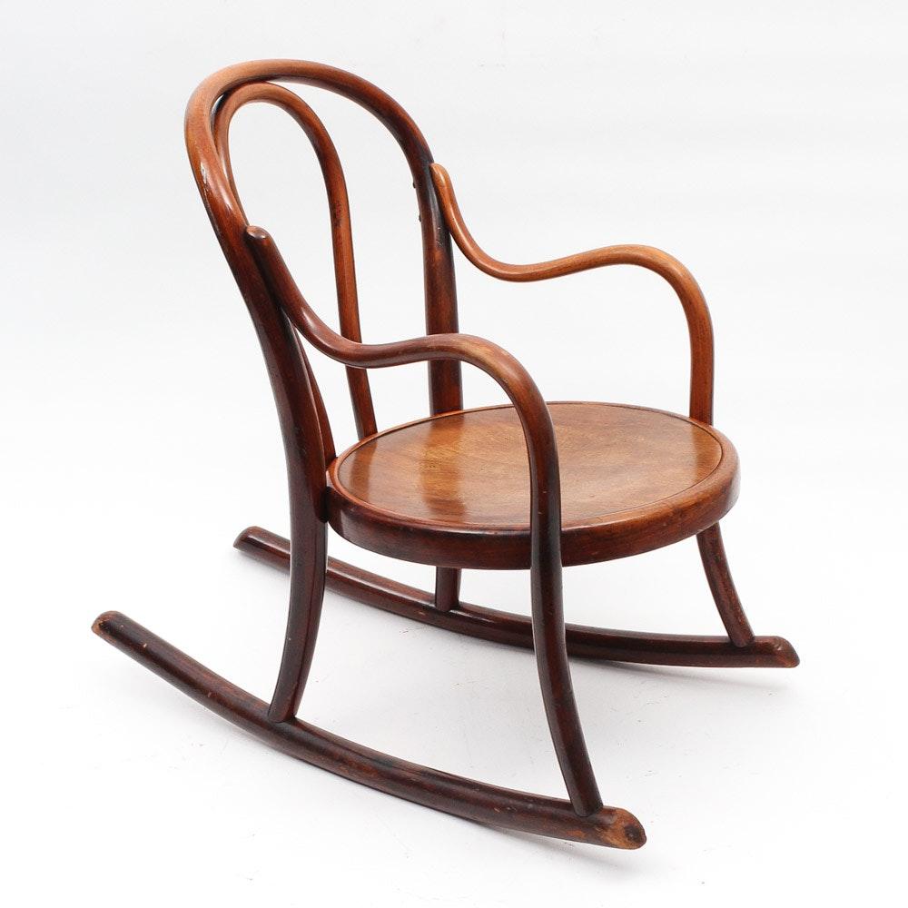 Antique Fischel Bentwood Child's Rocking Chair