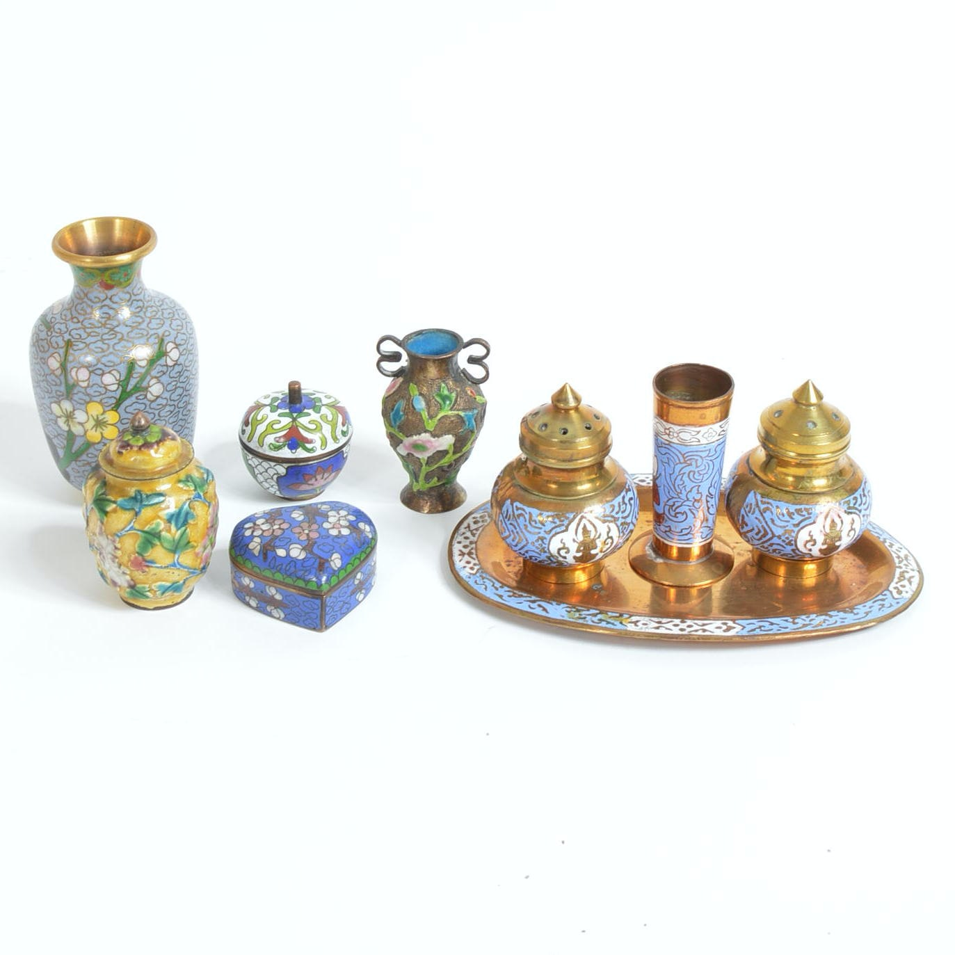 Cloisonne Style Miniature Vases