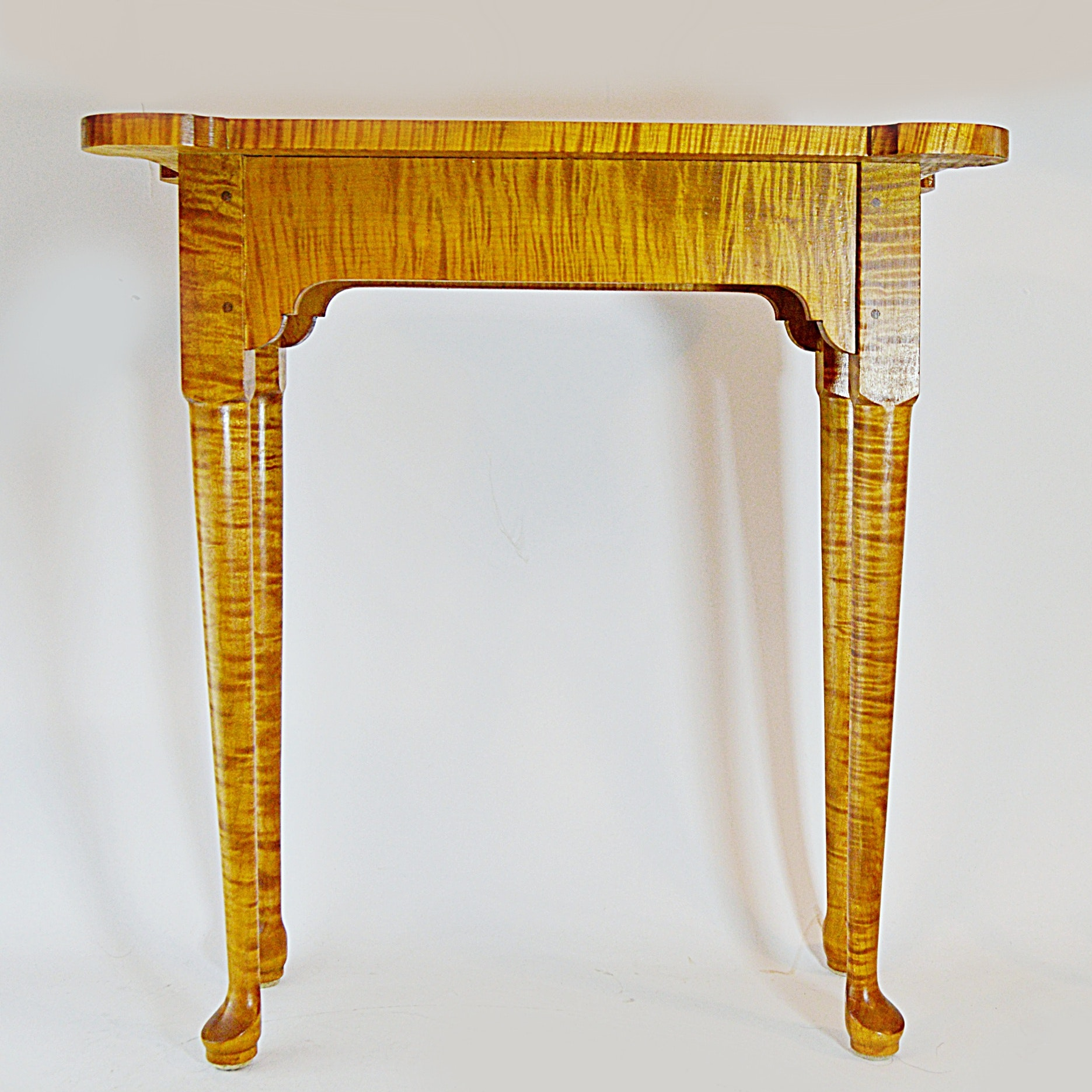 Jeremy Gibson Curly Maple Chippendale Style Side Table