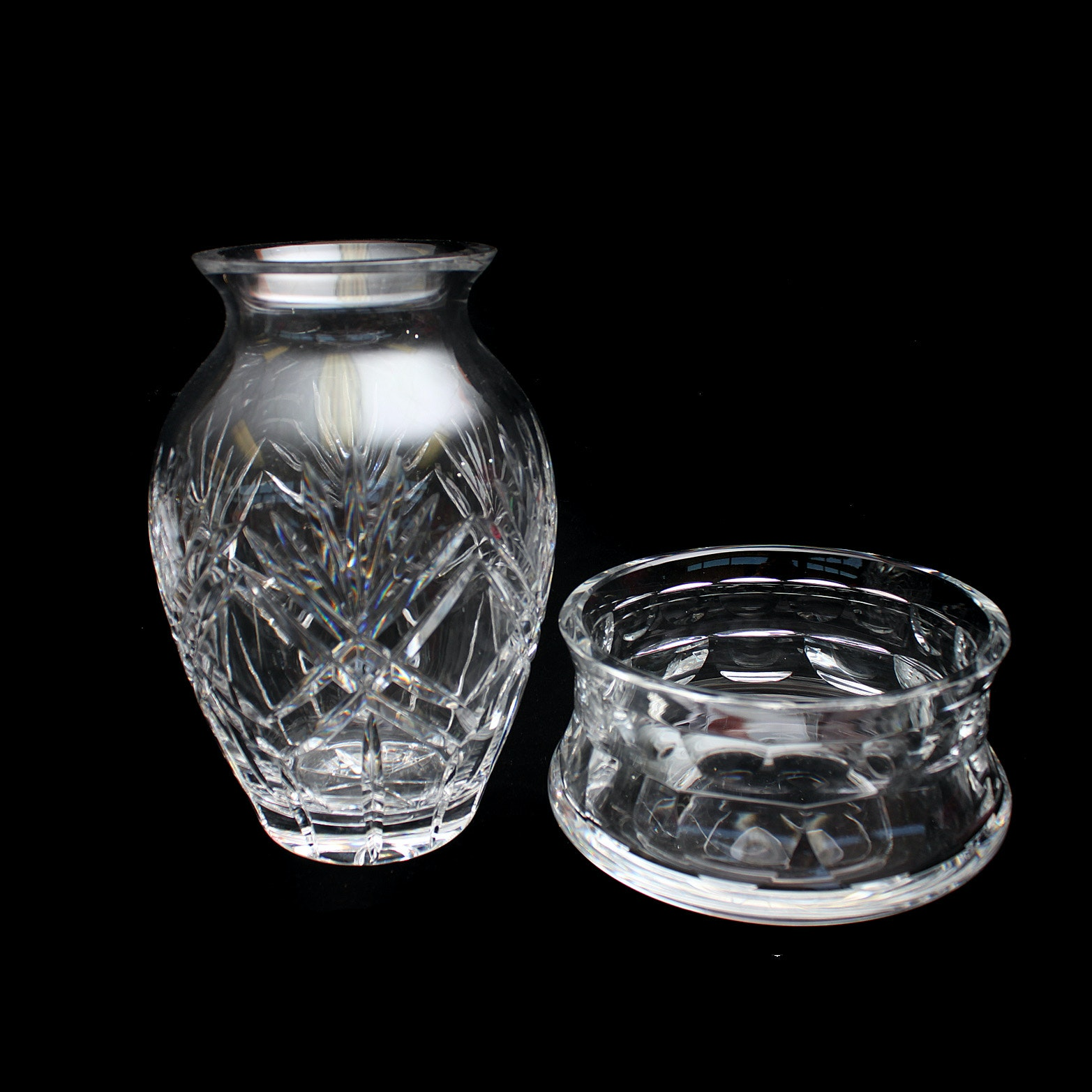 Cut Crystal Vase and Orrefors Candy Dish