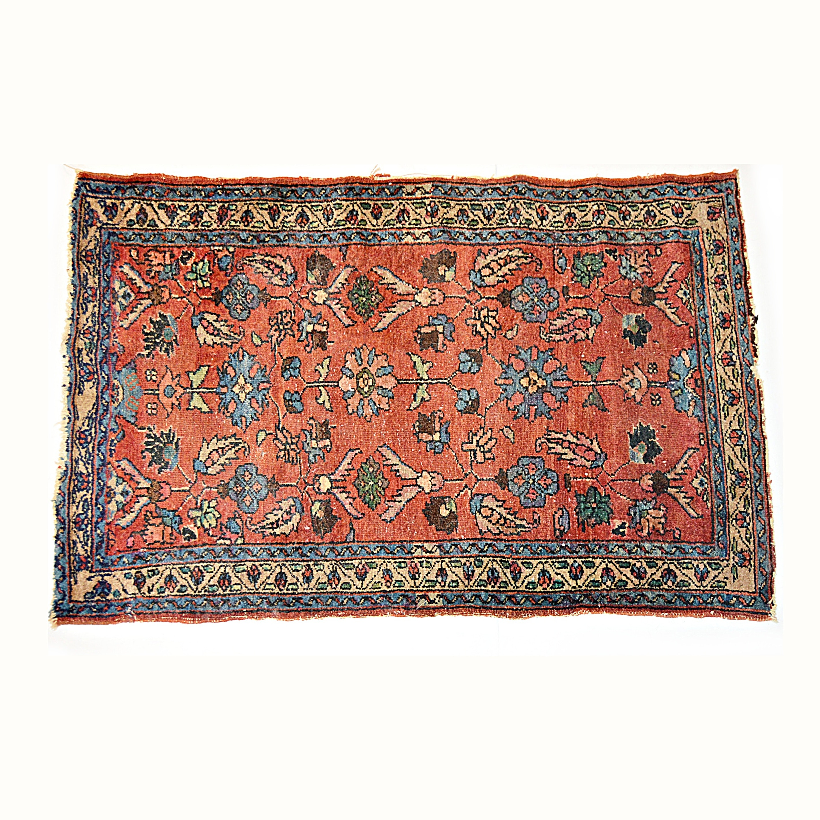 Semi-Antique Hamadan Hand Knotted Accent Rug