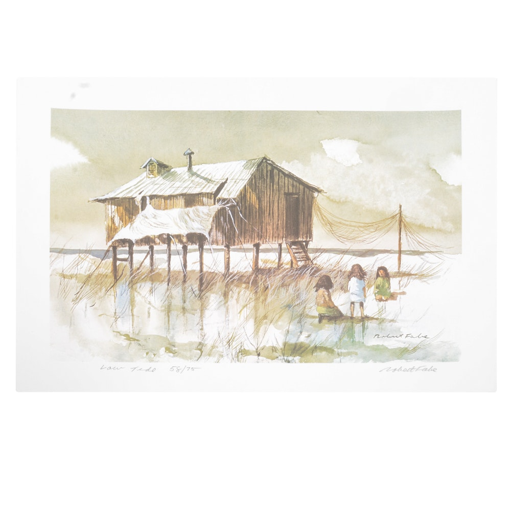 "Signed Robert Fabe Limited Edition Offset Lithograph ""Low Tide"""