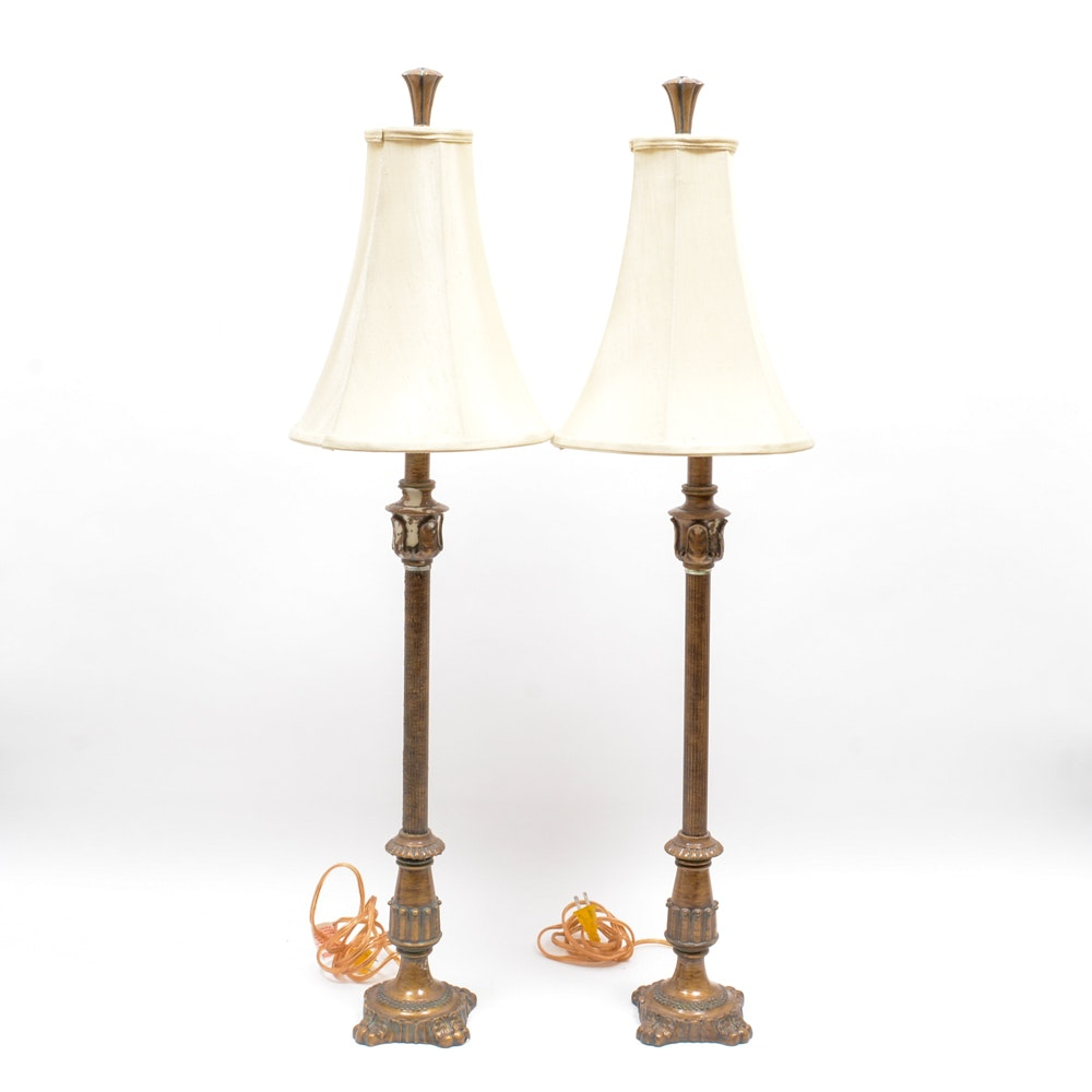 Pair of Bronze Tone Table Lamps