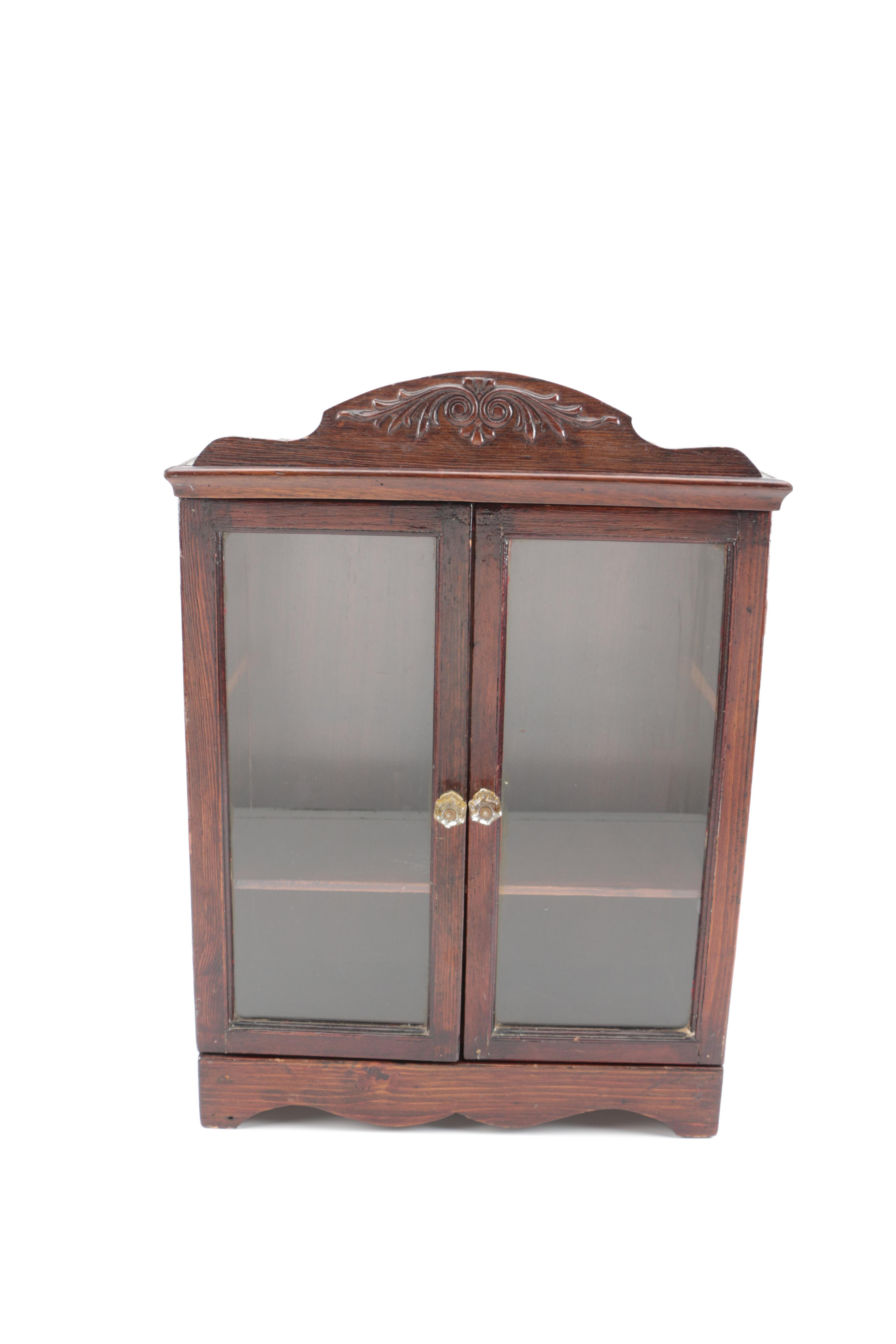 Vintage Miniature Glazed-Door Display Cabinet