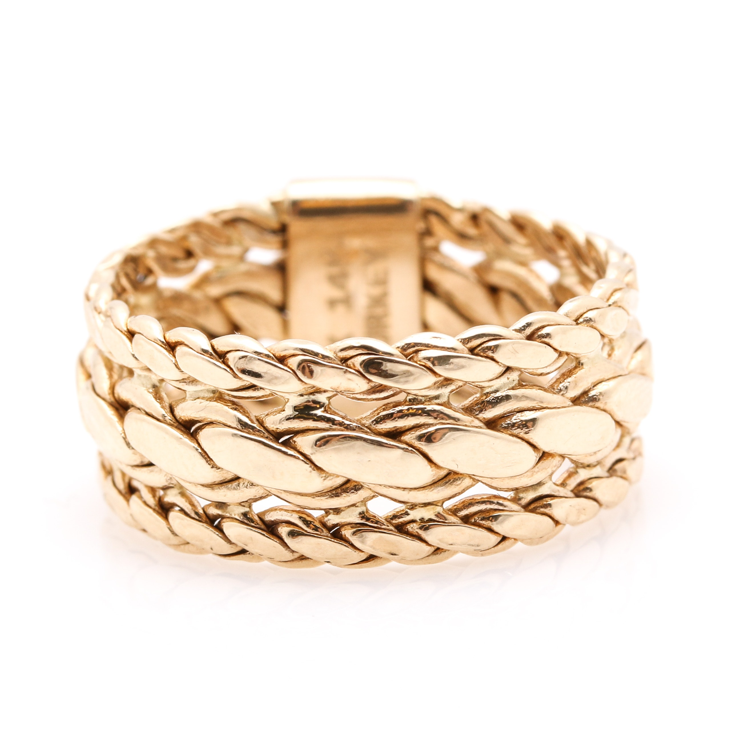 14K Yellow Gold Pierced Braided Ring Band