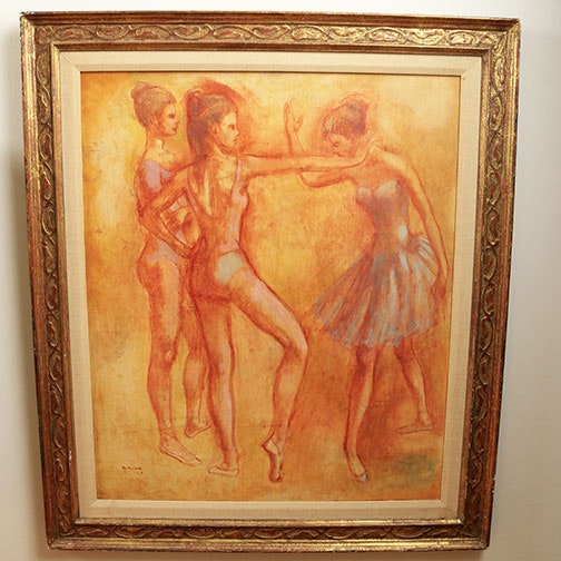 Oil Painting on Board depicting Dancers