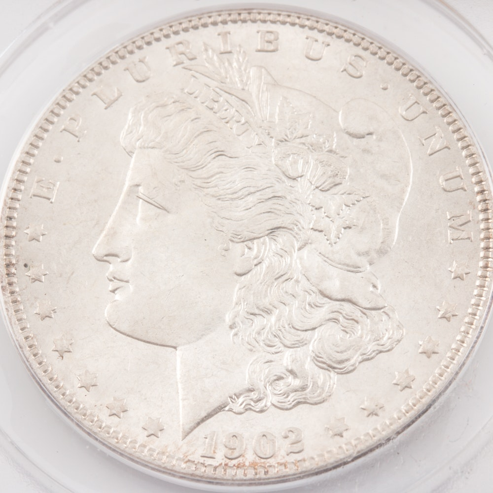 Encapsulated and Graded MS63 (by ANACS) 1902 Morgan Silver Dollar