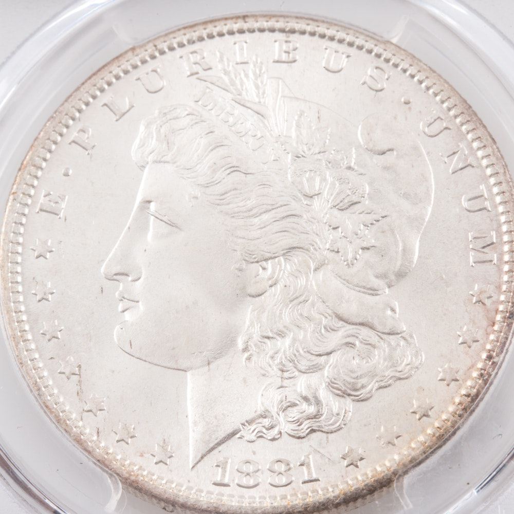 Encapsulated and Graded MS64+ (by PCGS) 1881 S Morgan Silver Dollar