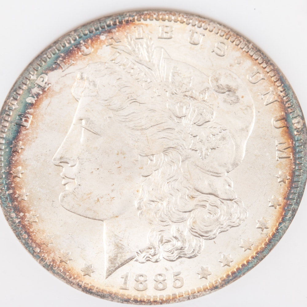 Encapsulated and Graded MS64 (by NGC) 1885 O Morgan Silver Dollar