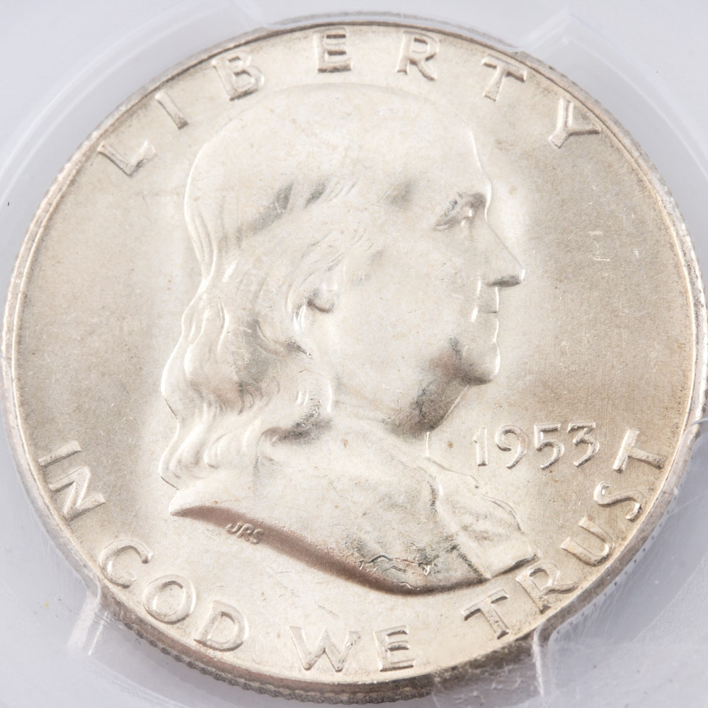 Encapsulated and Graded MS65 (by PCGS) 1953 S Franklin Silver Half Dollar
