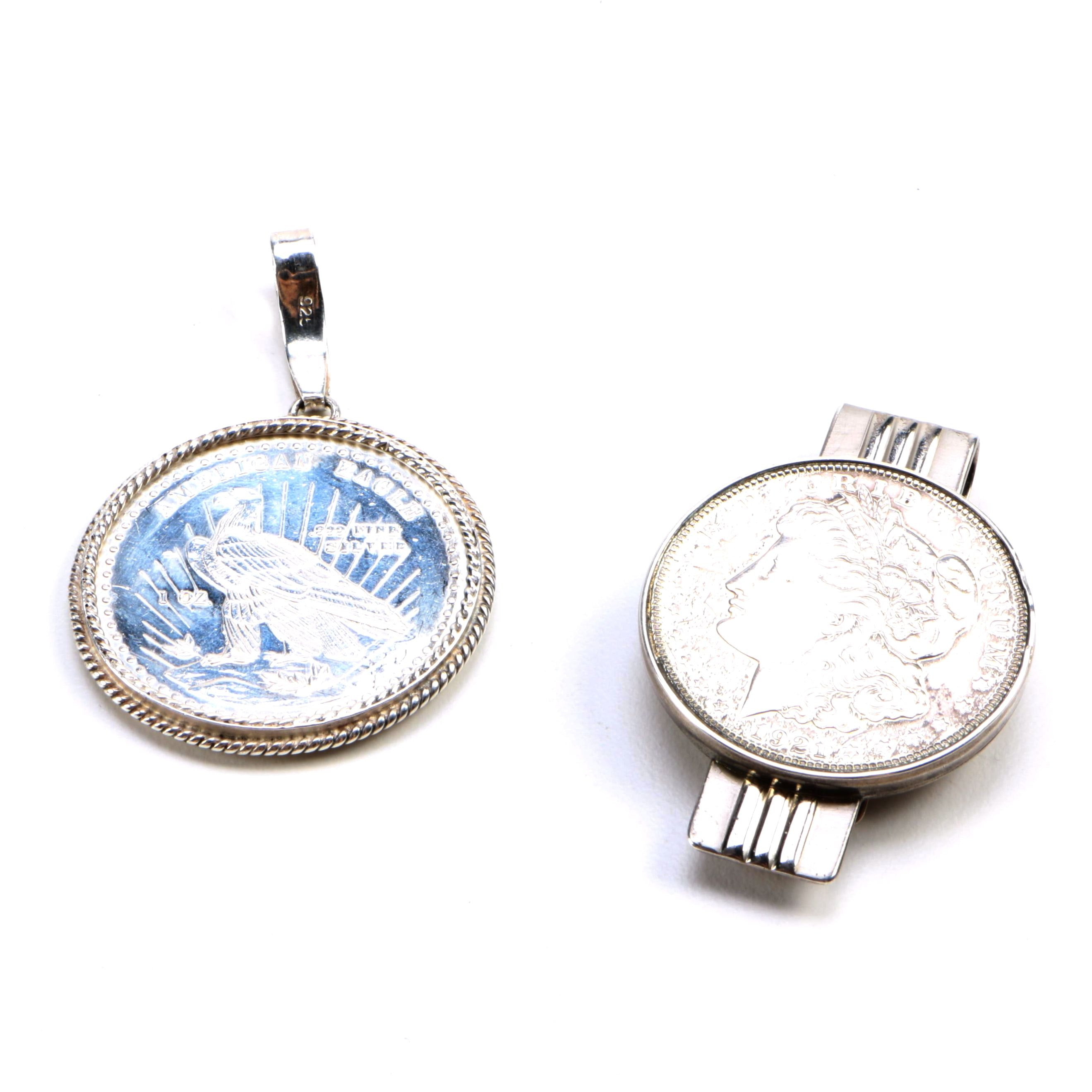 Sterling Silver Pendant and Money Clip With Coins