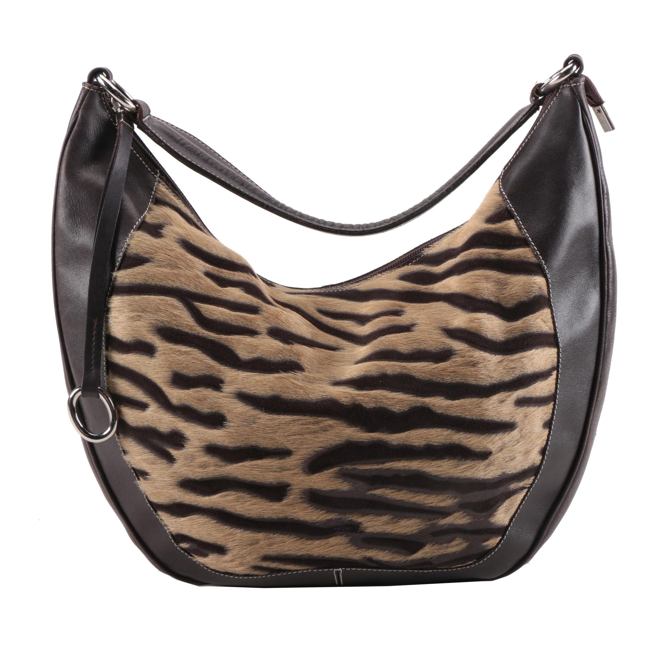 Puntotres Leather and Cowhide Shoulder Bag