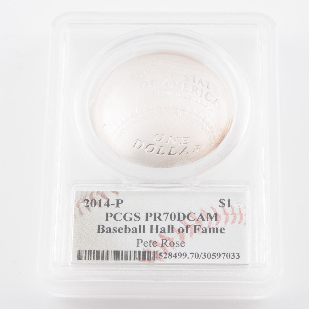 Graded PR 70DCAM (by PCGS) 2014 Pete Rose Baseball Hall of Fame Commemorative Silver Dollar