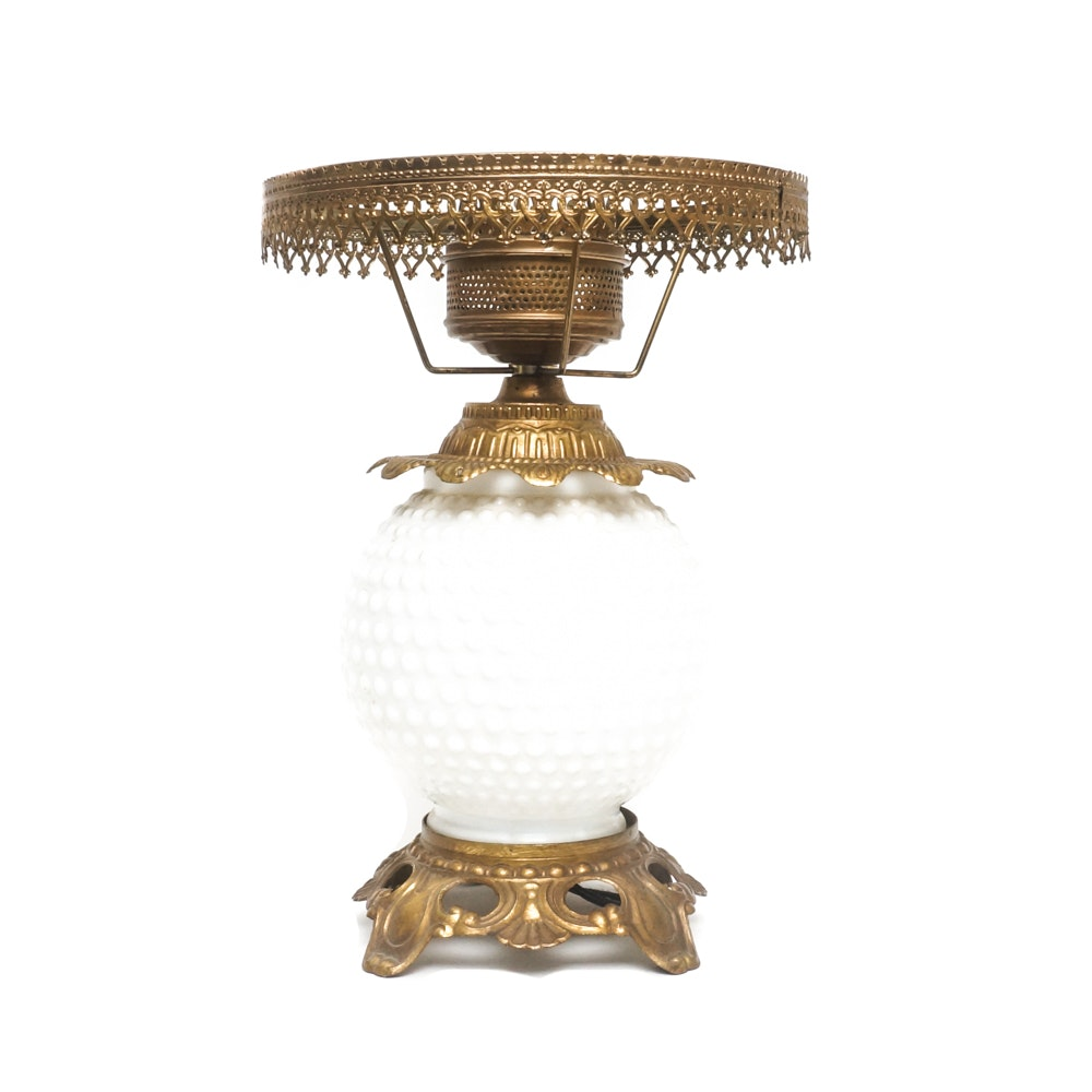 Vintage Milk Glass Hobnail Fenton Style Table Lamp ...