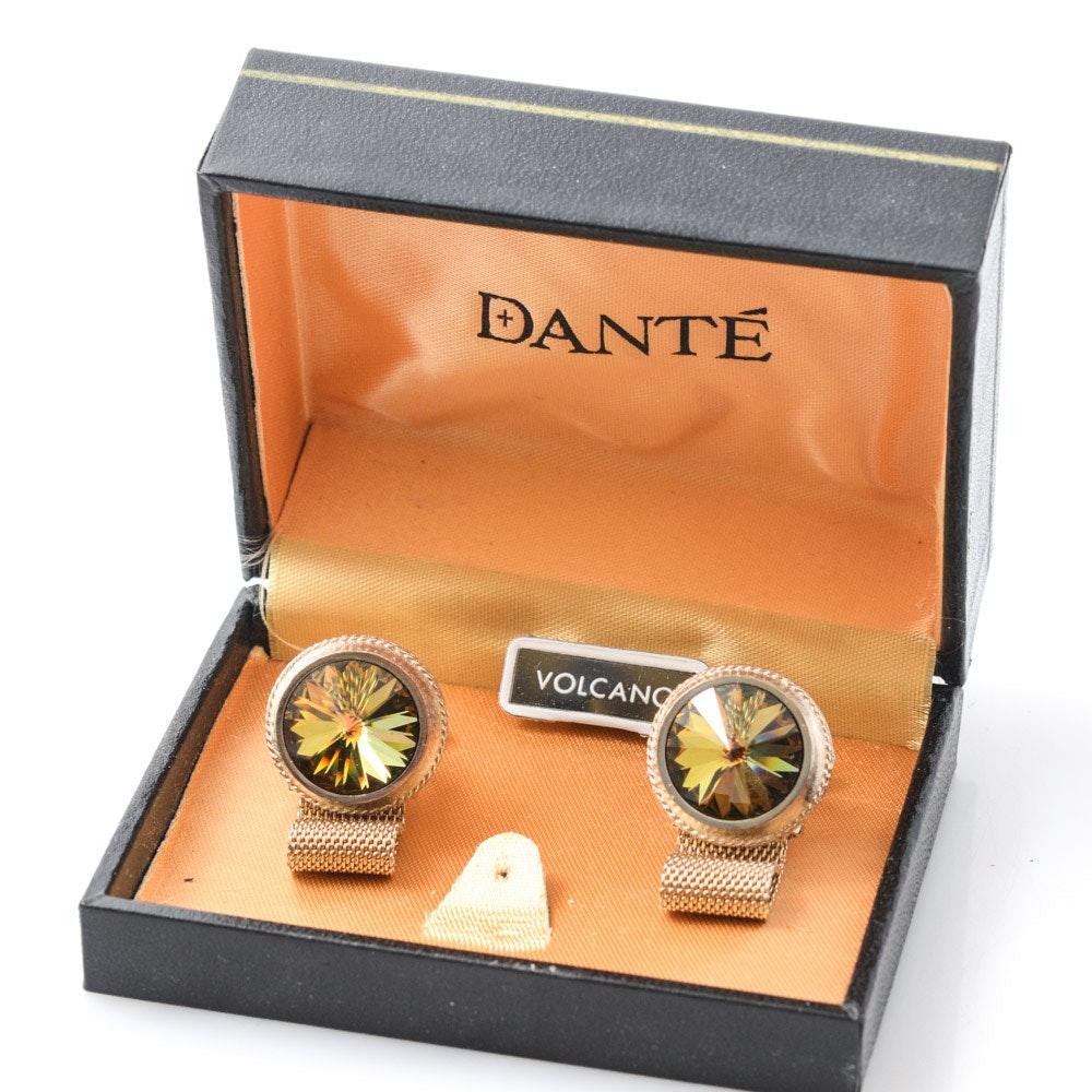 Vintage Dante Volcano Rivoli Glass Cufflinks