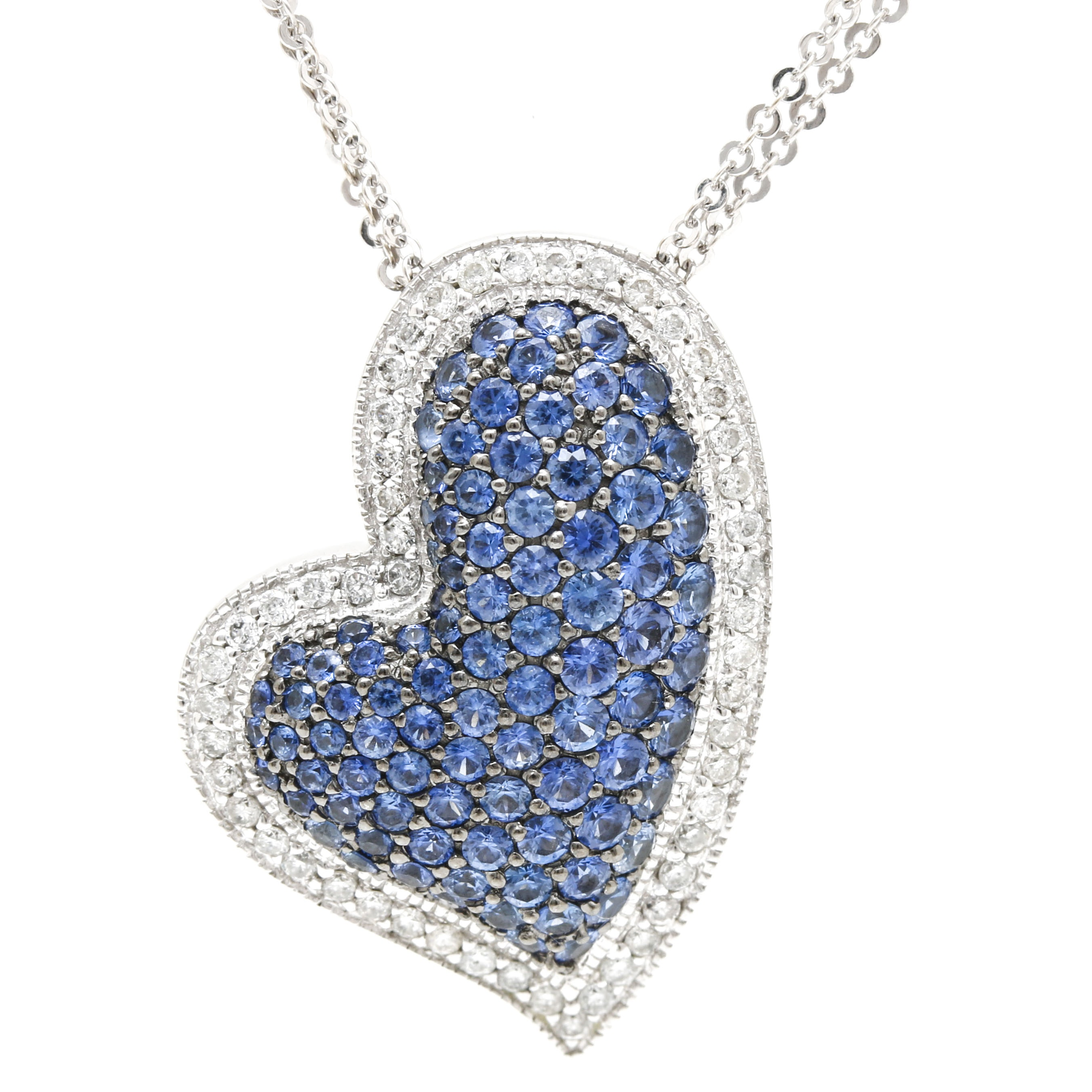 14K White Gold 2.25 CTW Sapphire With Diamond Accents Necklace