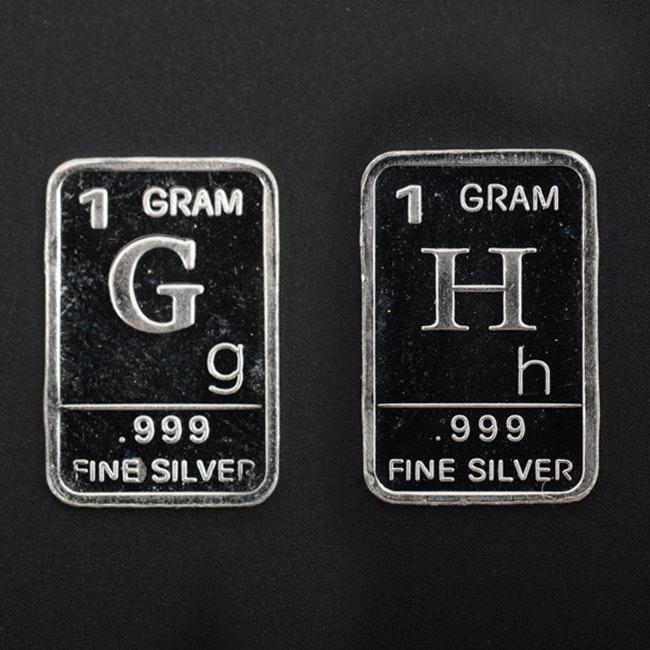 """""""Alphabet"""" Sterling Silver 1 Gram Bars"""