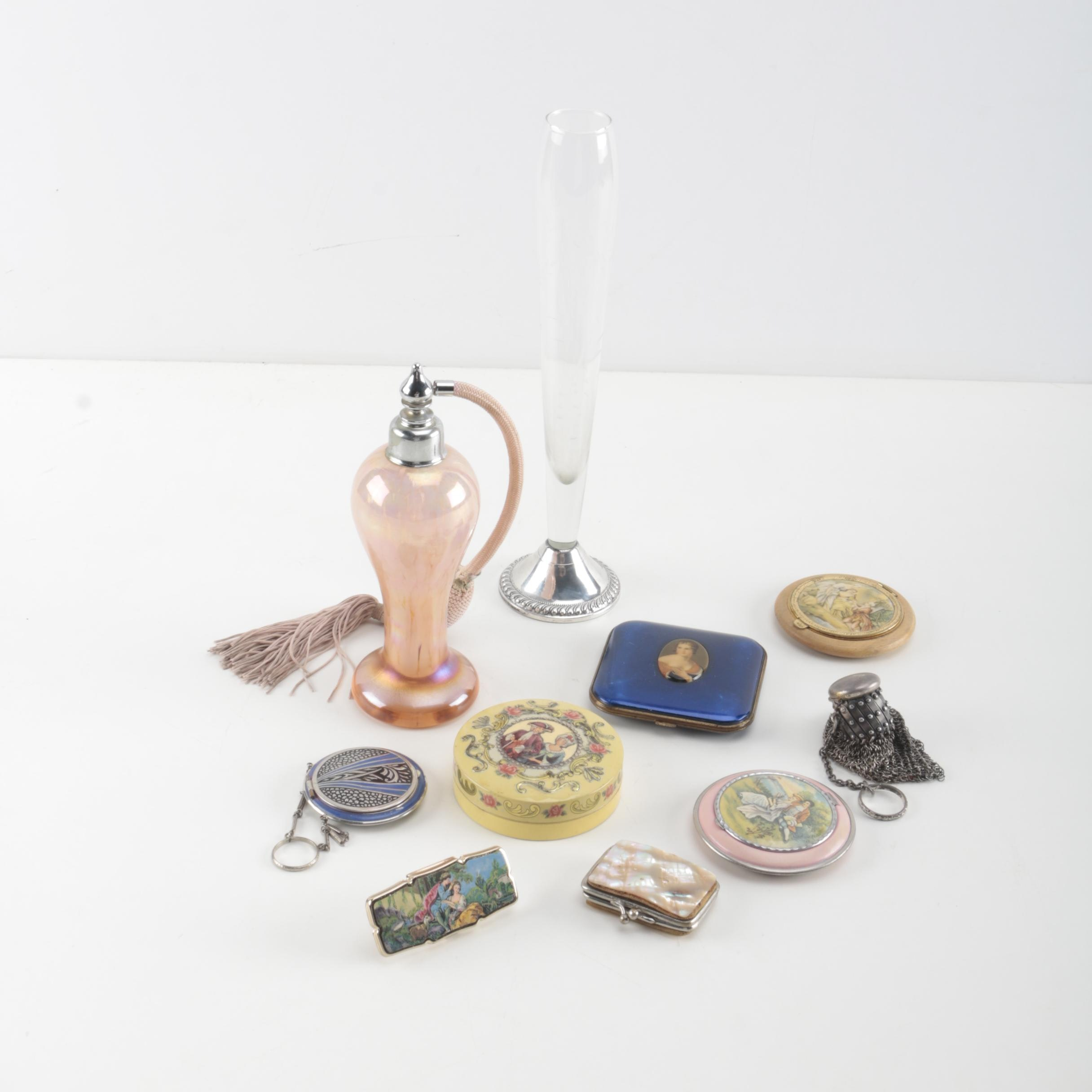 Blown Glass Perfume Atomizer and Ornate Vanity Accessories