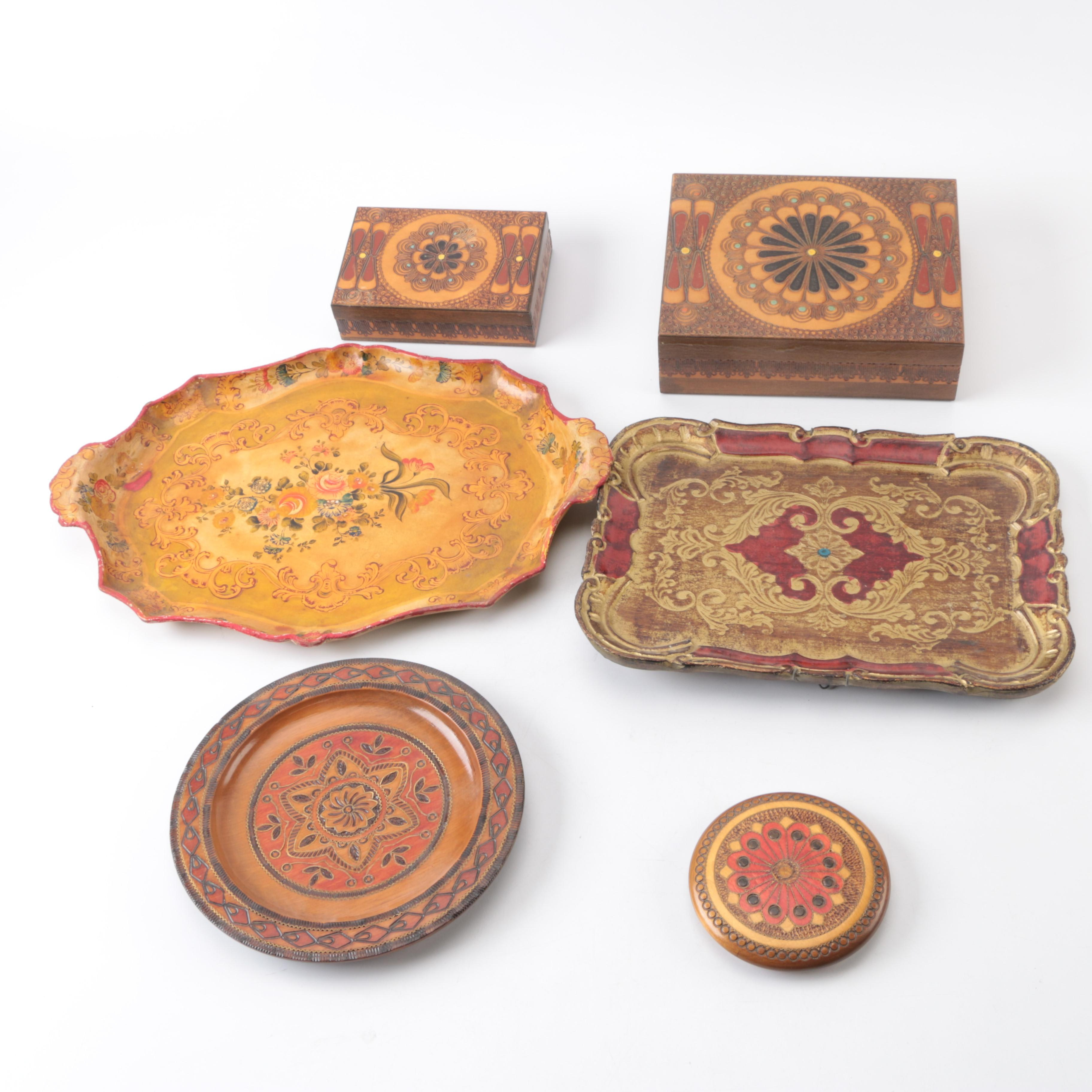 Decorative Vintage Style Wood Boxes, Trays, and Plates With Ornate Patterns