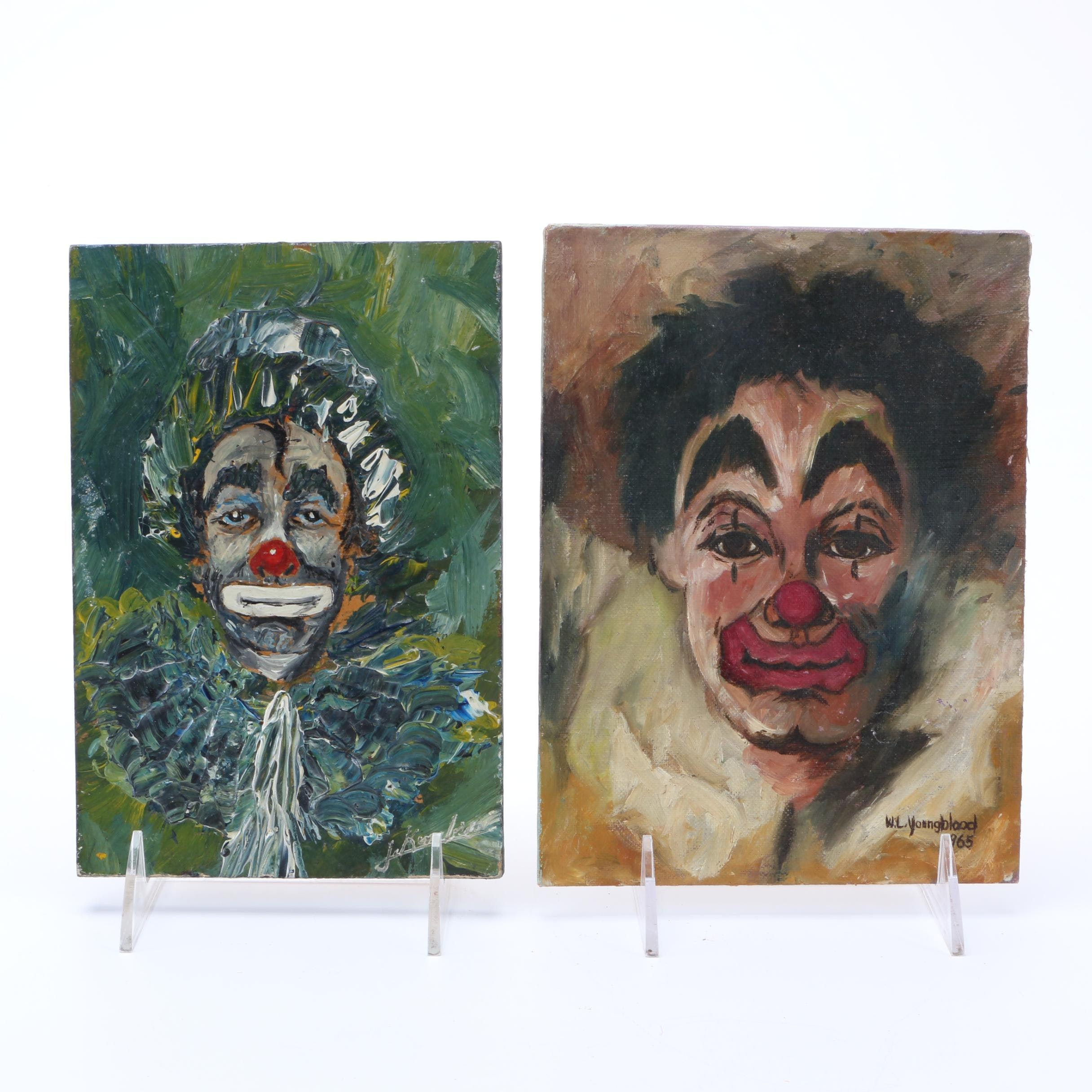 Expressive Vintage Oil Paintings on Board of Clowns