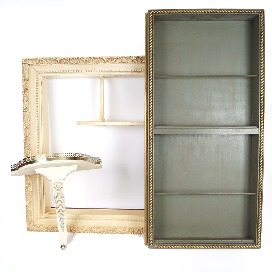 Vintage Display Cabinets And A Decorative Shelf ...