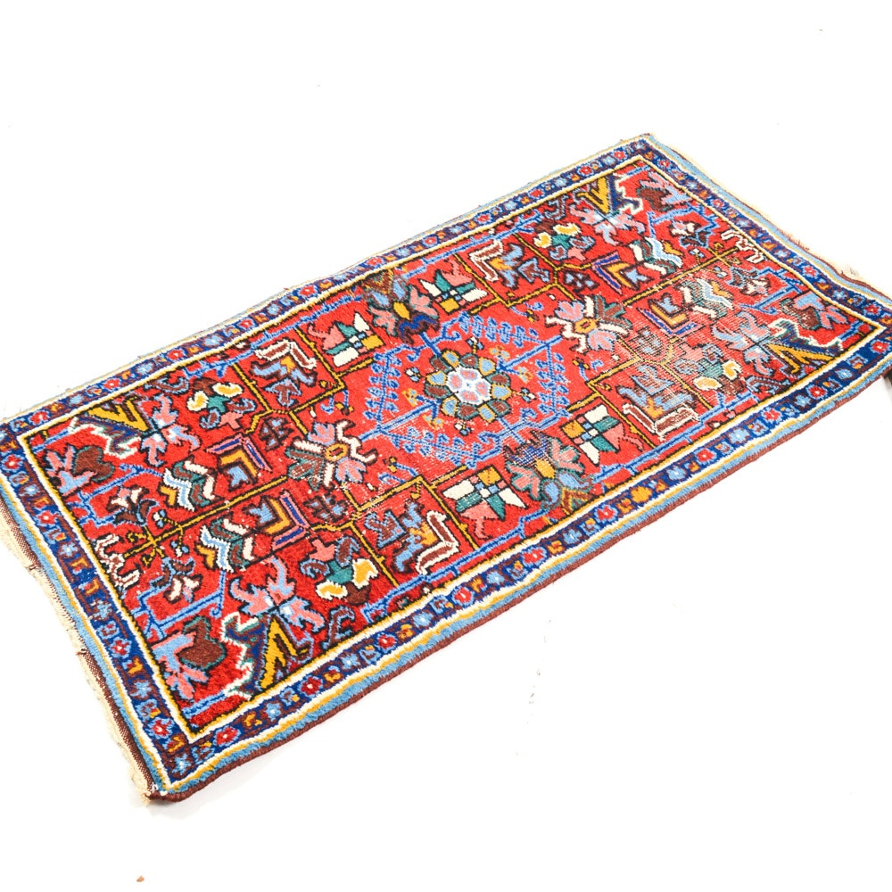 Semi Antique Hand Knotted Persian Heriz Accent Rug Ebth