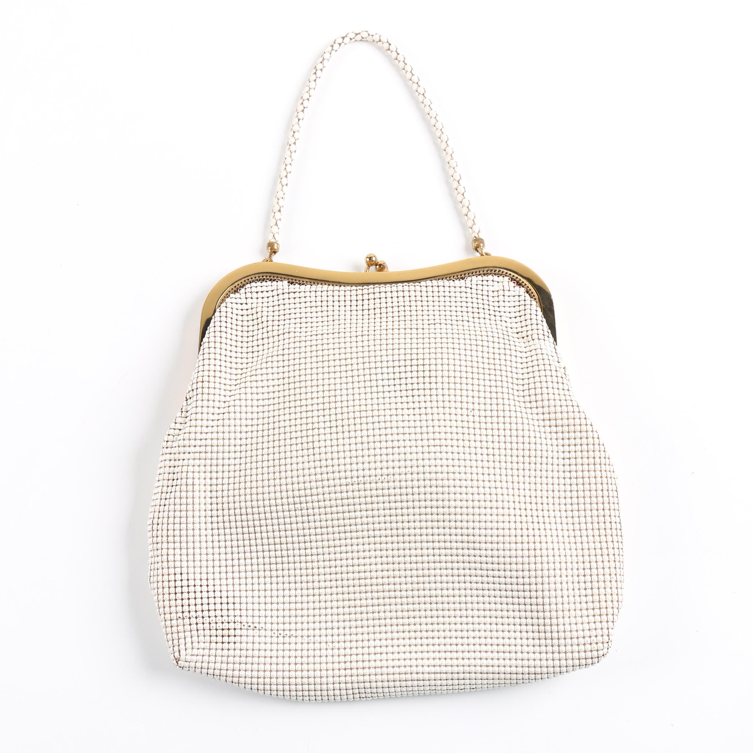 Whiting & Davis Vintage Mesh Handbag with Shell Compact