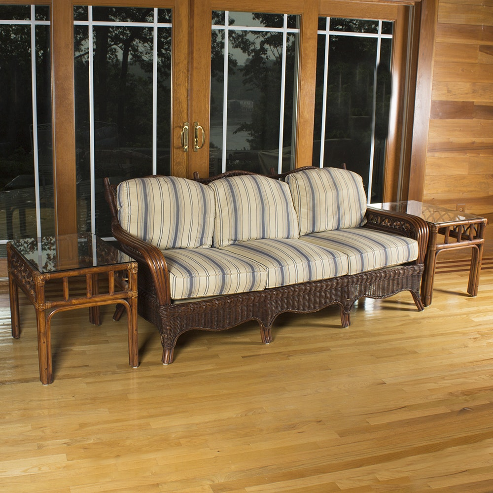 Wicker Sofa With Glass Top Side Tables