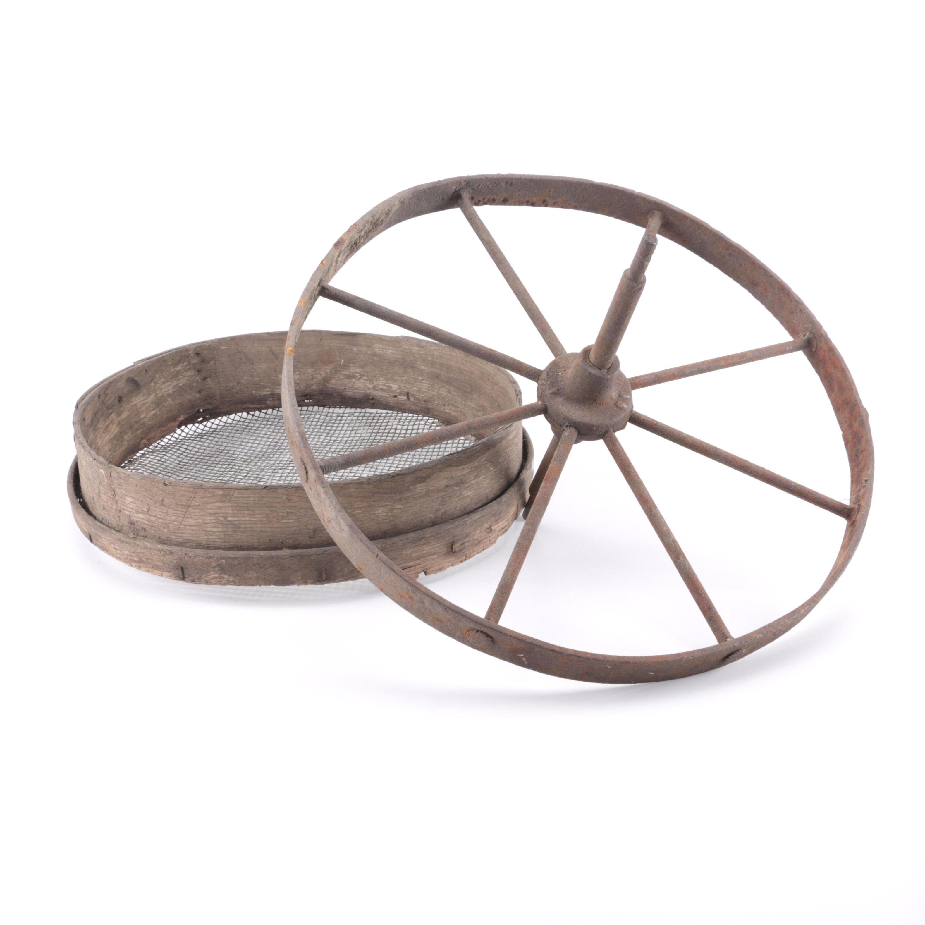 Antique Iron Wagon Wheel and Sifter