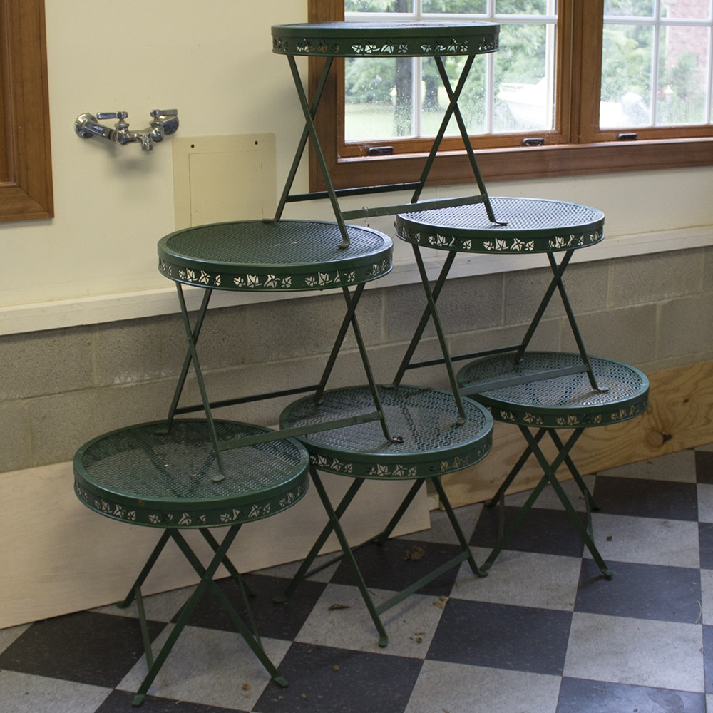 Set of Six Green Outdoor Metal Side Tables