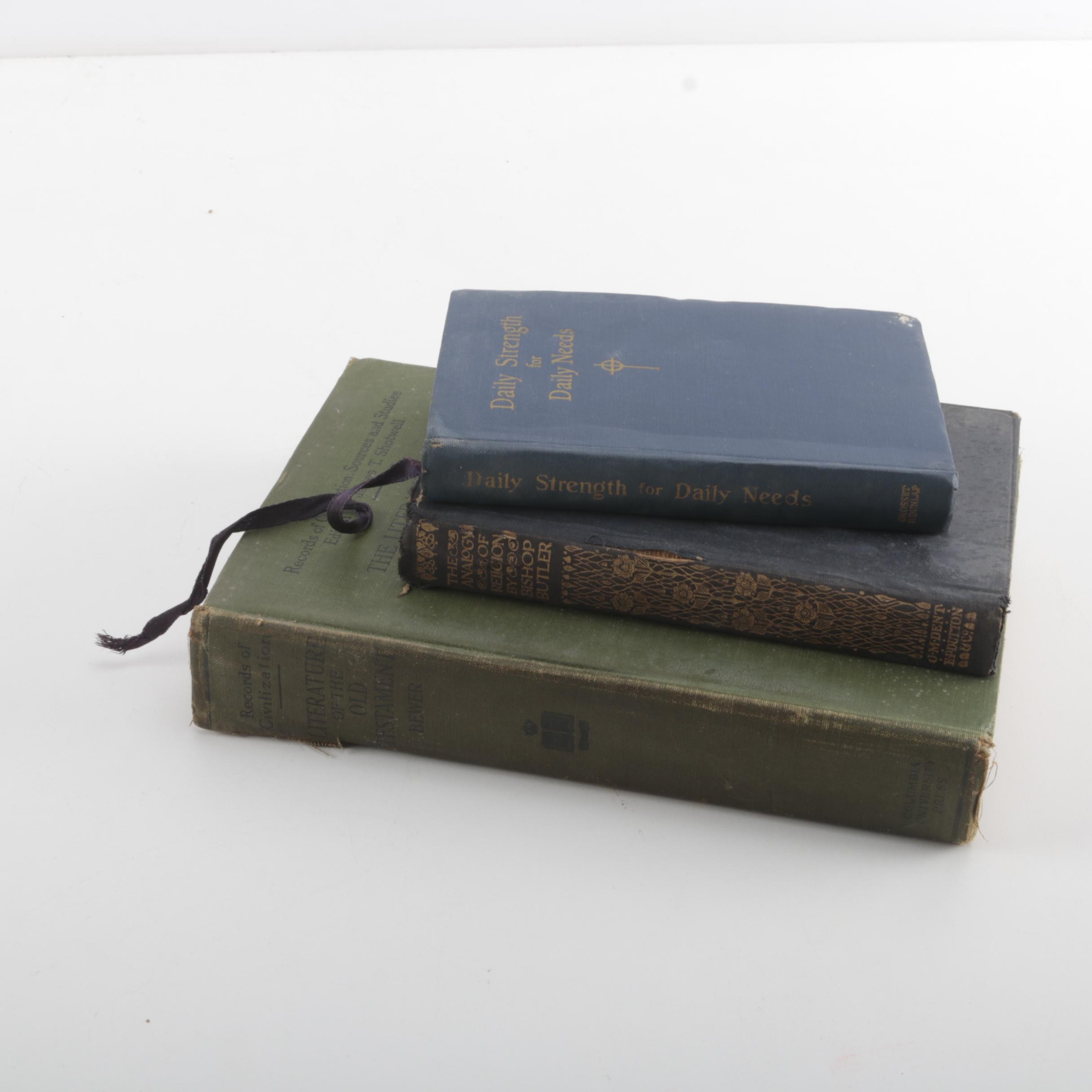 """Assorted Religious Books including Memorial Edition """"Daily Strength For Daily Needs"""" by Mary Wilder Tileston"""