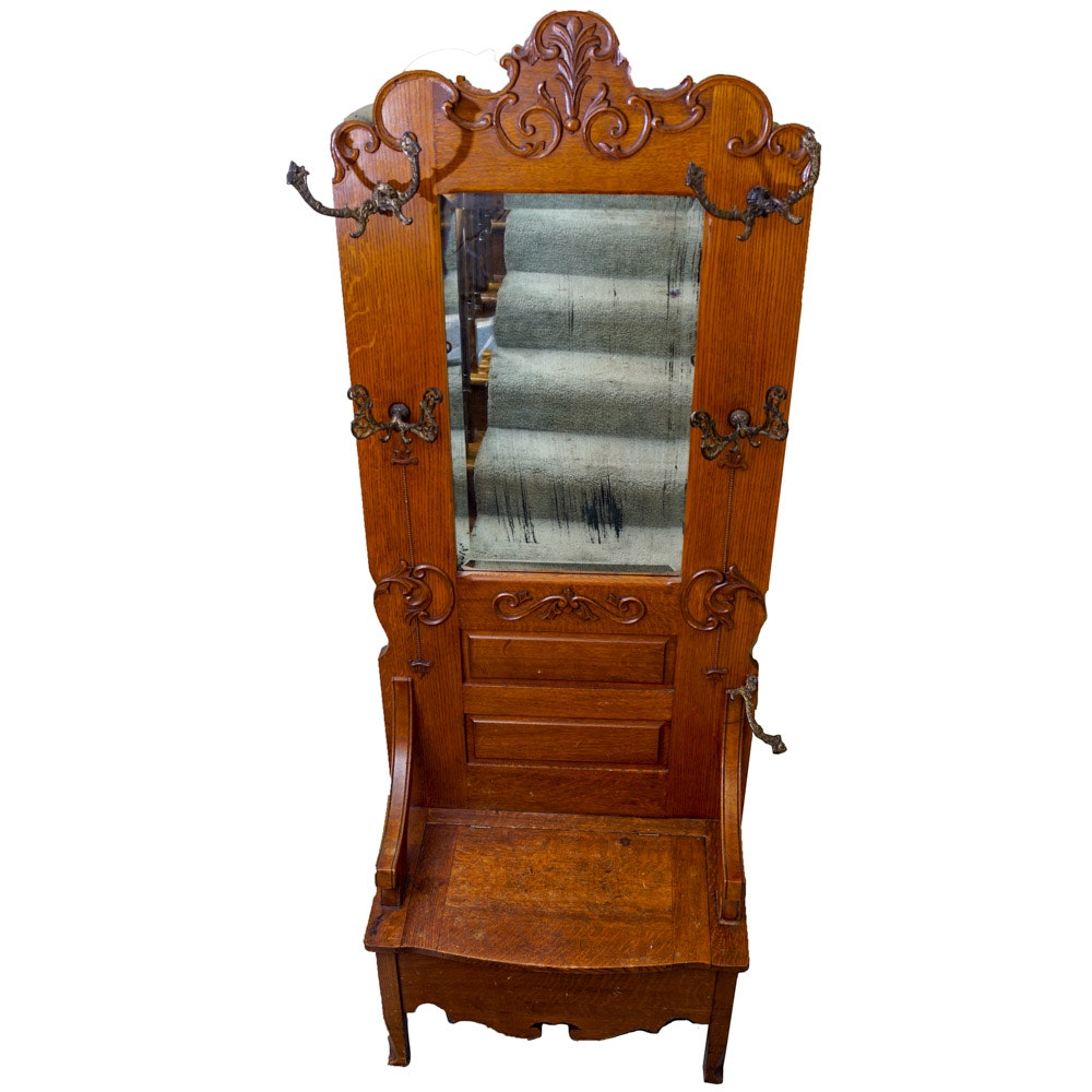 Antique Oak Hall Tree Storage Bench With Mirror ...