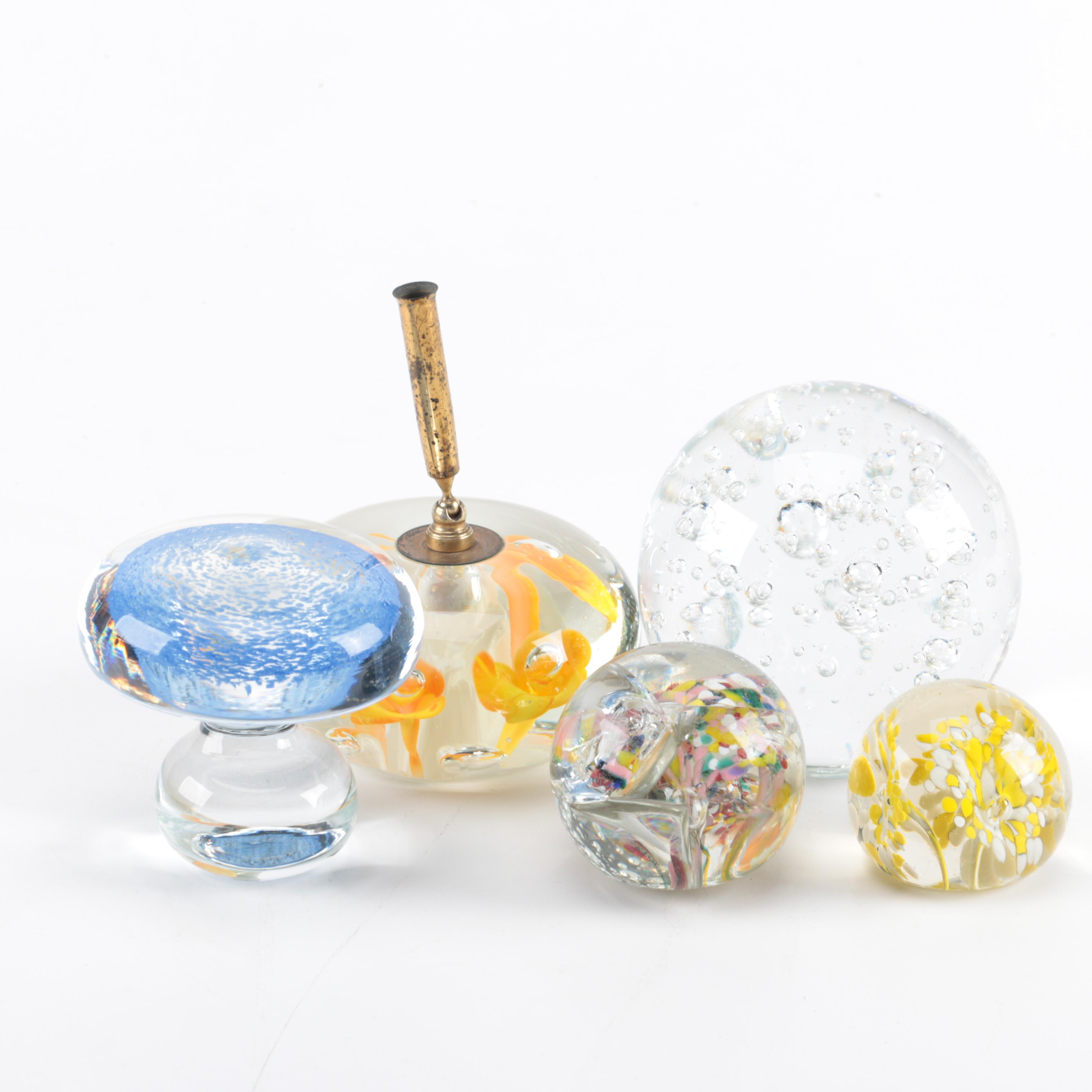 Collection of Glass Paperweights and Pen Holder