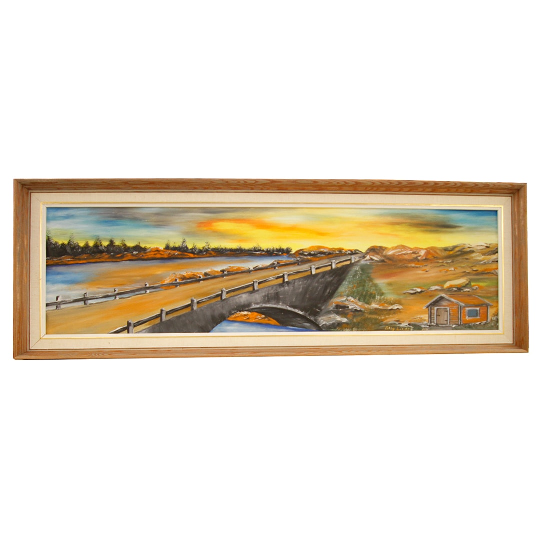 1971 Stig Lindell Oil Painting on Board of Bridge Crossing a River Landscape