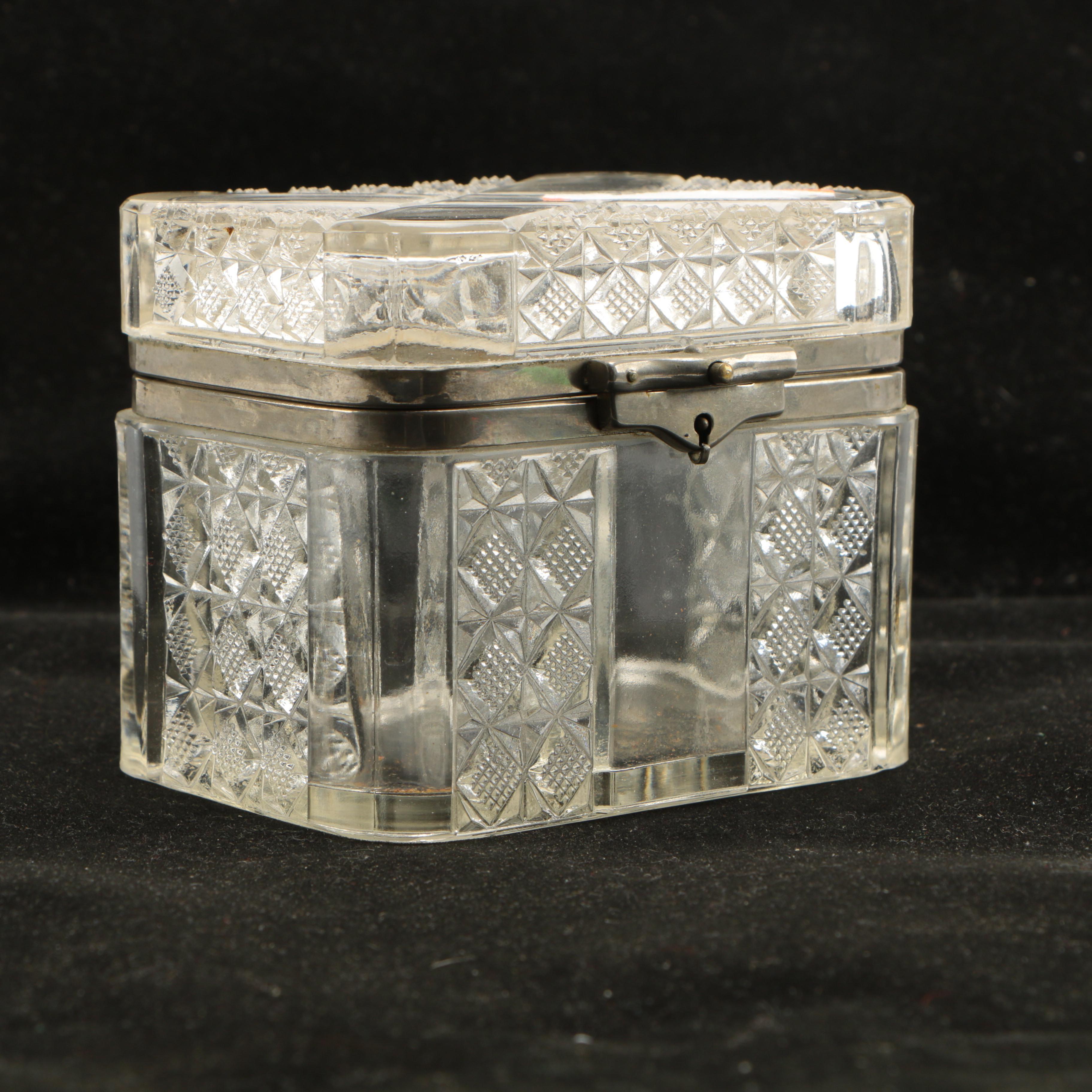Antique Lidded Glass Box