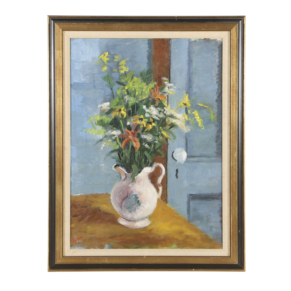 Mid 20th-Century Oil Painting on Canvas Floral Still Life