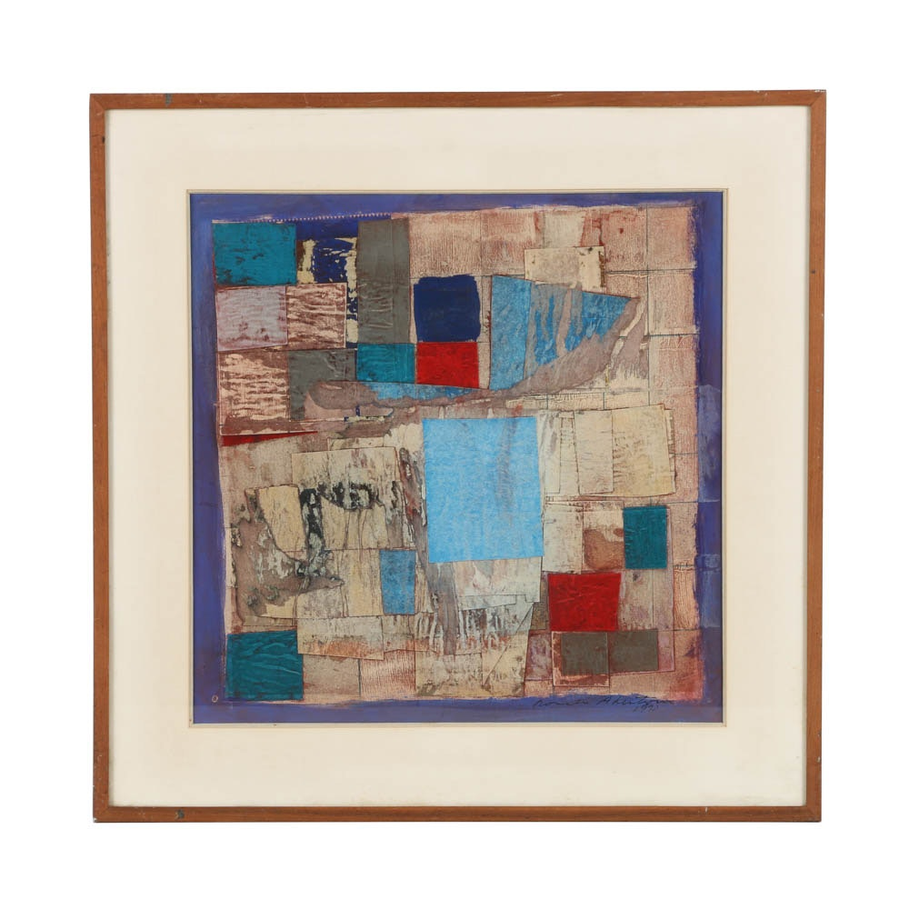 Ronald Ahlstrom Mixed Media on Paper of Abstract Scene