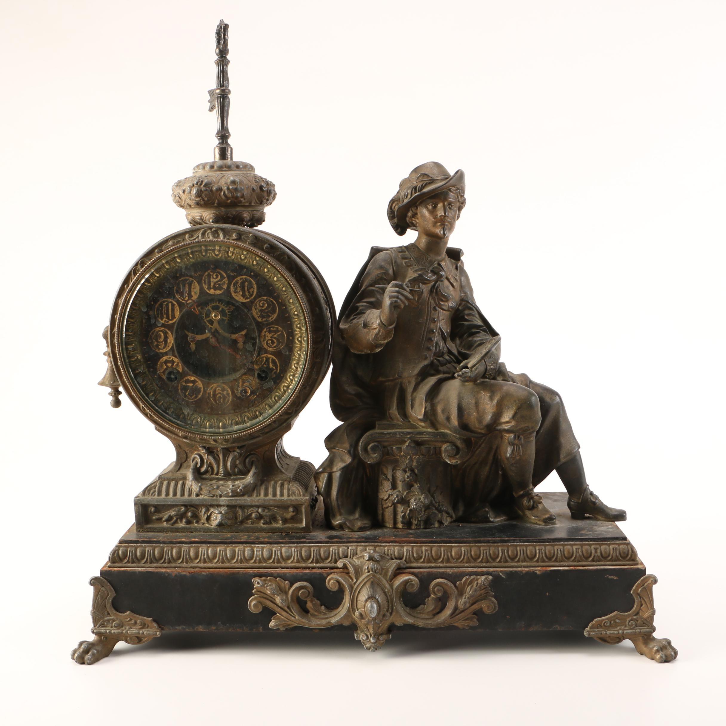 Analog Desk Clock with Figurine