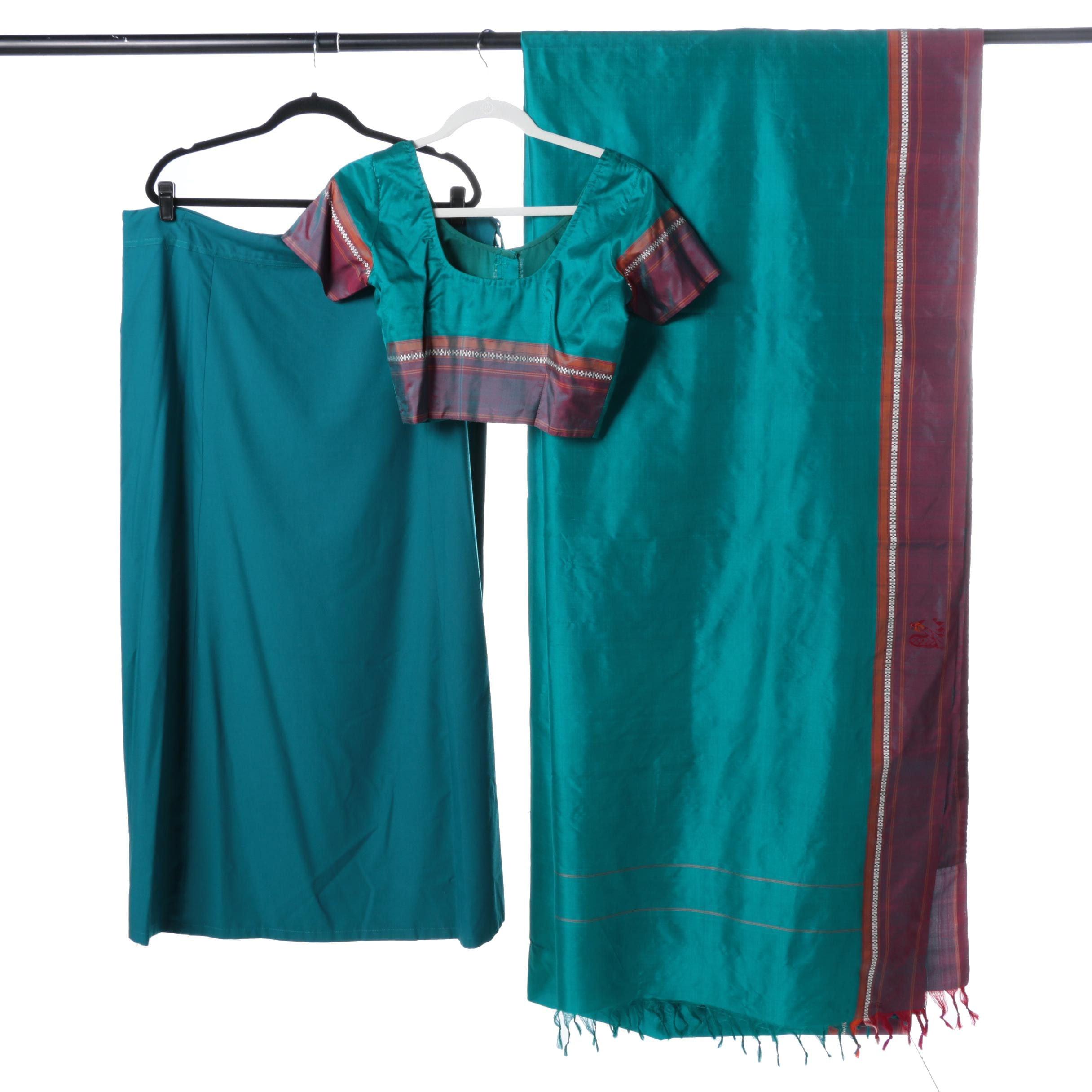 Women's Teal Striped Sari