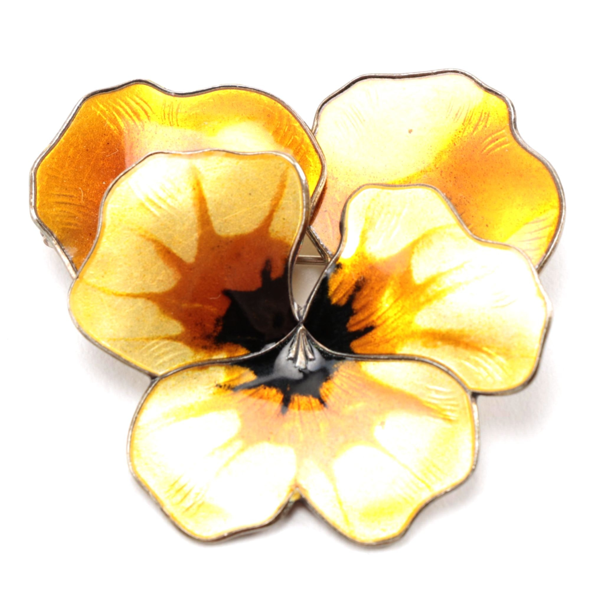 David Anderson Sterling Silver and Enamel Pansy Brooch