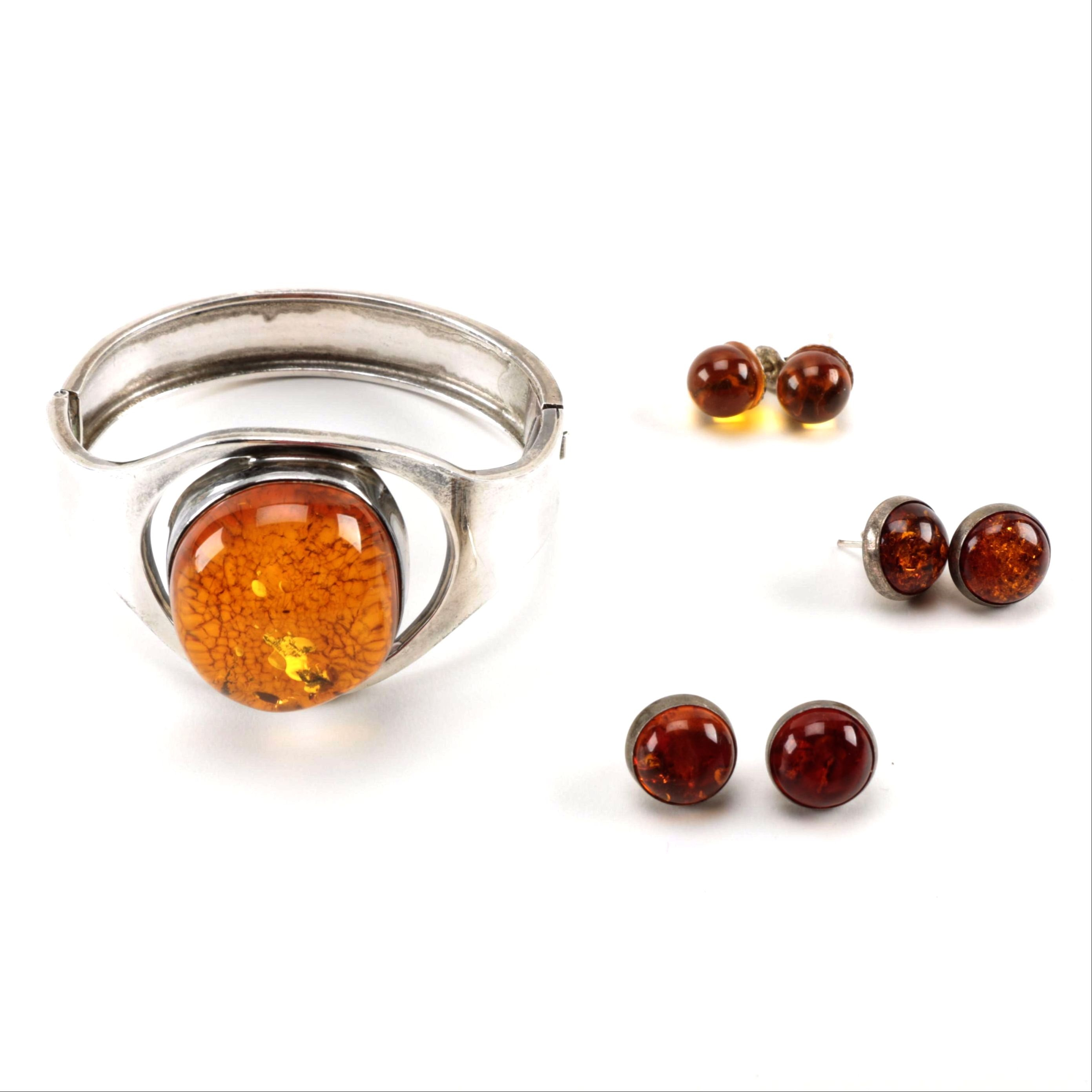 Amber and Sterling Silver Bracelet and Earrings
