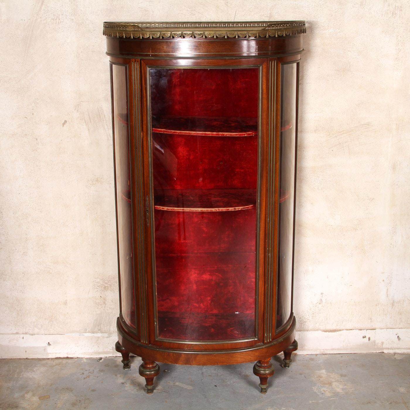 Antique Demilune Curio Cabinet