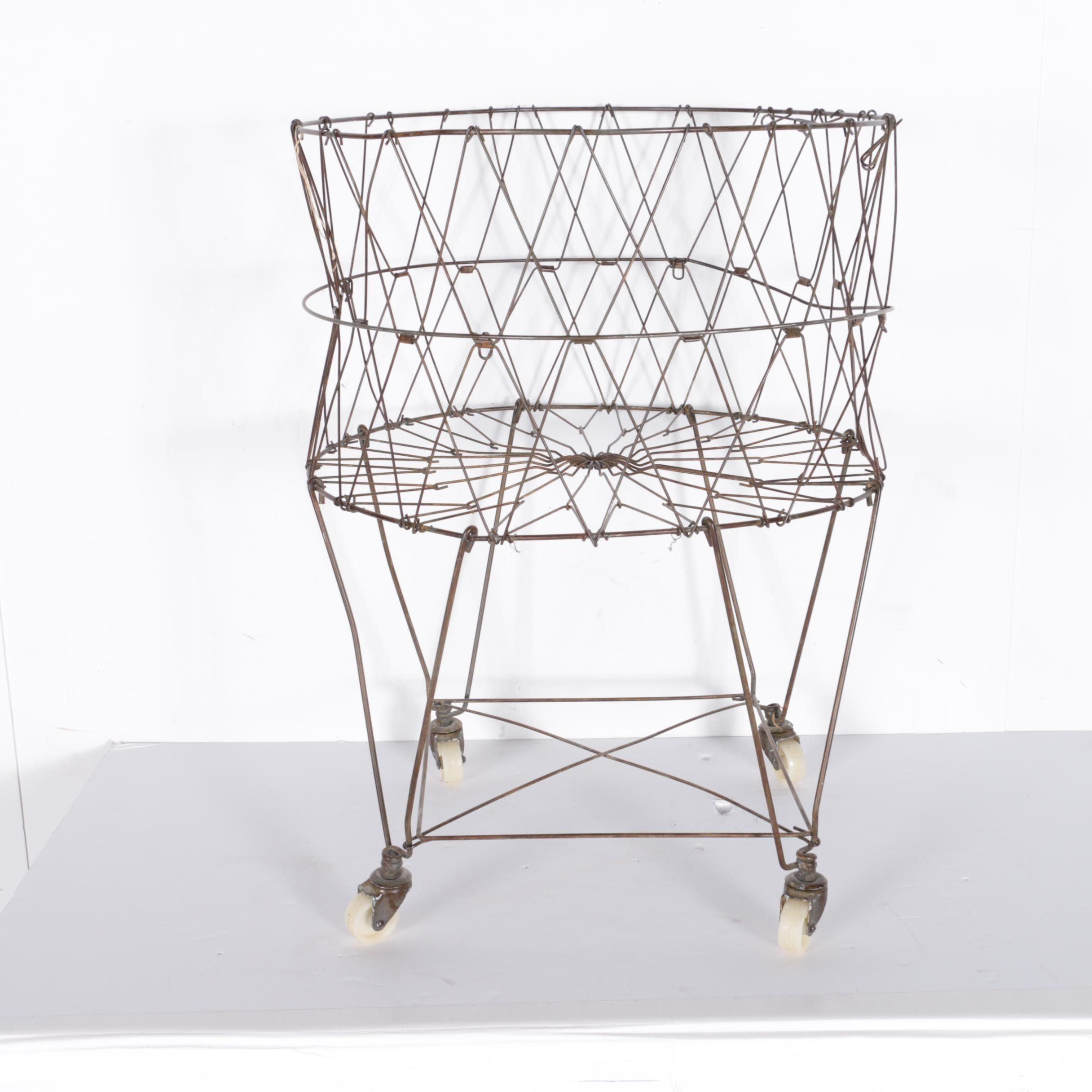 Vintage Metal Laundry Basket