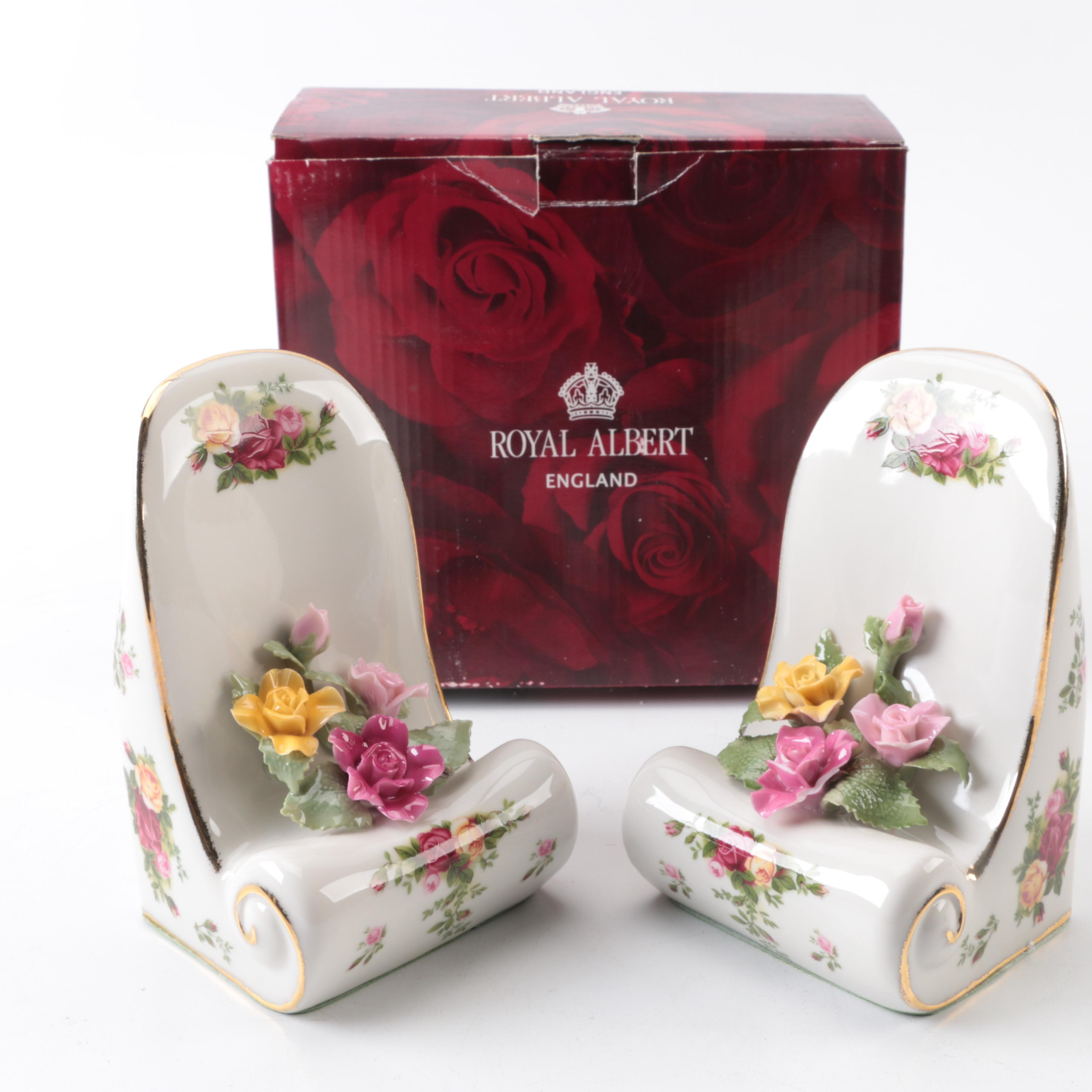 """1962 Royal Albert """"Old Country Roses"""" Porcelain Bookends"""