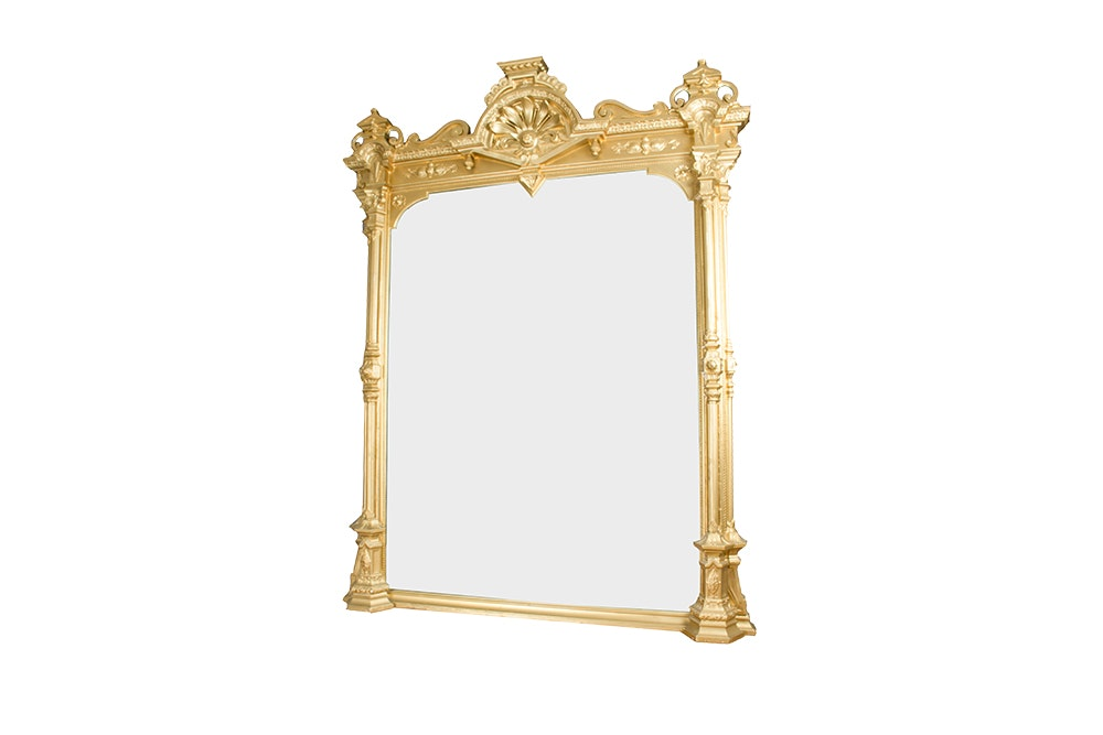 Large Ornate Gold Tone Wood Framed Mirror