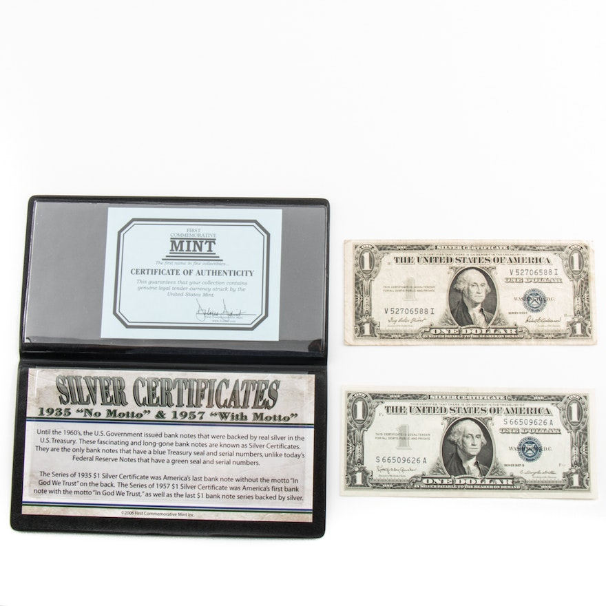 Series 1935 F And 1957 B Blue Seal 1 Silver Certificates Ebth