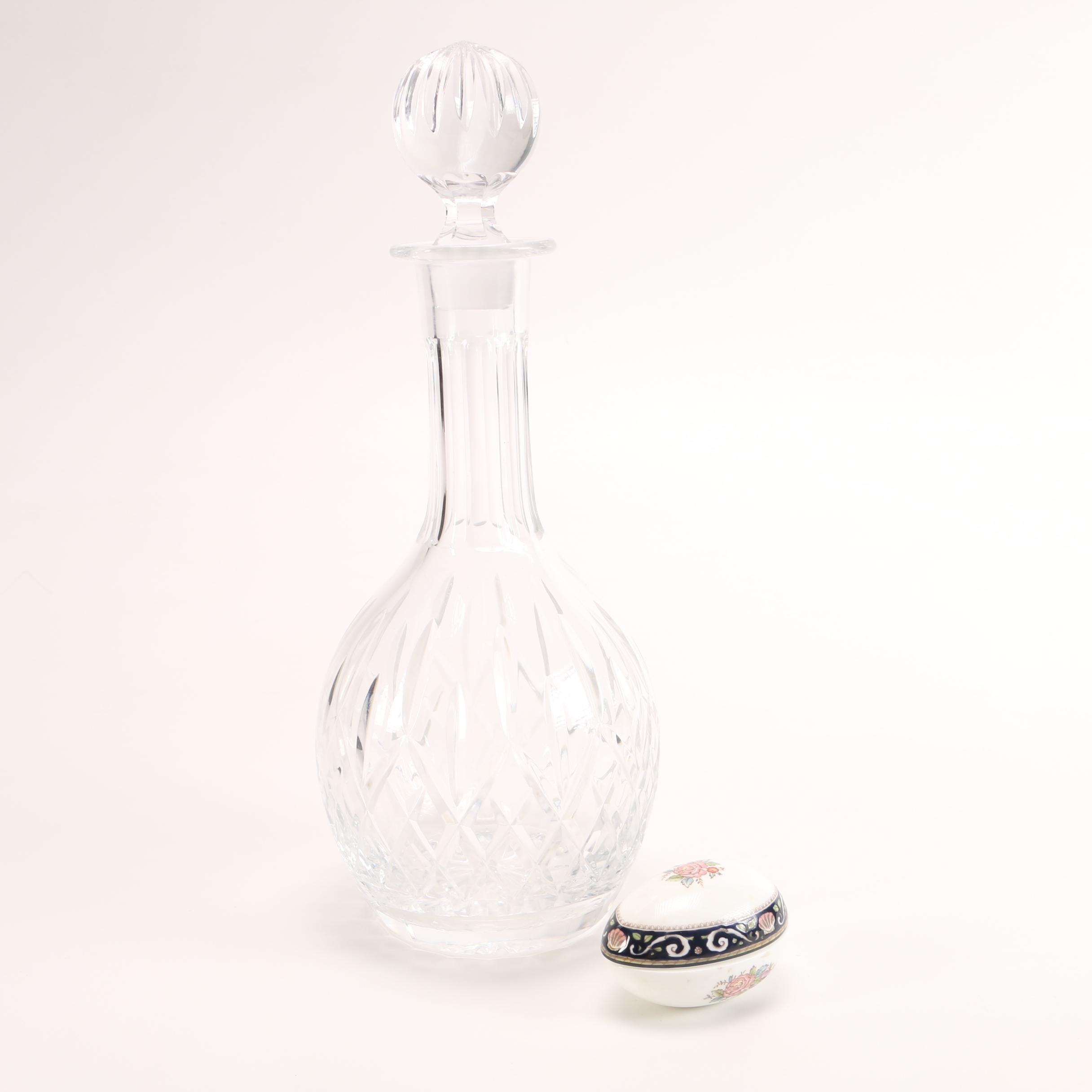 Wedgwood Crystal Decanter and Trinket Box